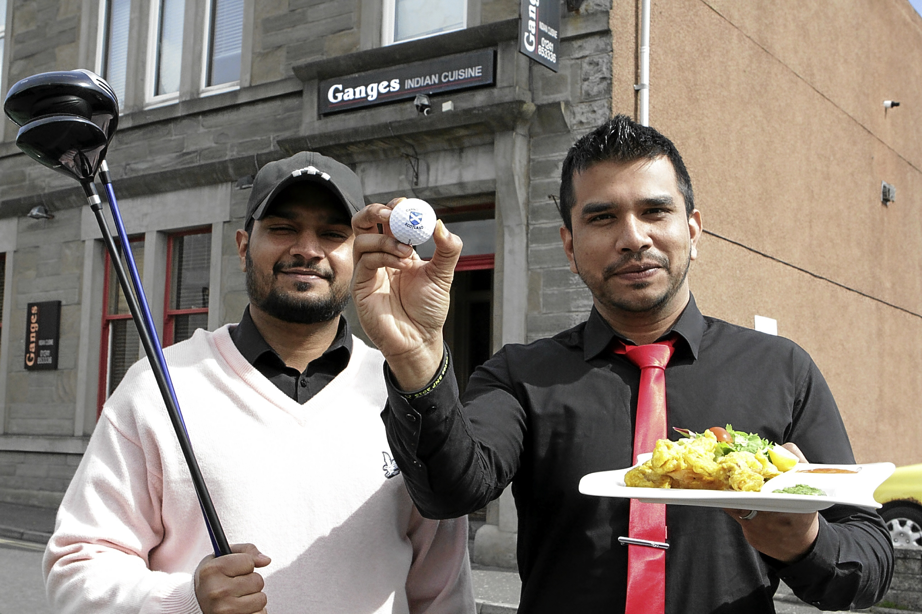 Tahrinul Reenu and Arif, of Ganges, with clubs provided by Carnoustie Golf Shop