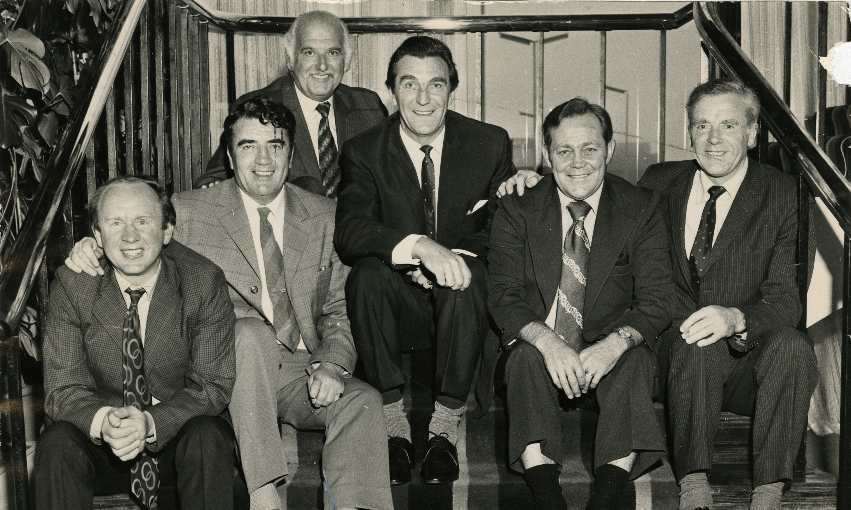 The year is 1973 and Billy Steel is pictured with some of his former Dundee team-mates at a function in the Angus Hotel, Dundee. From left — George Hill, Tommy Gallacher, Cohen (first name unknown), Doug Cowie, Billy Steel and Gerry Follon.