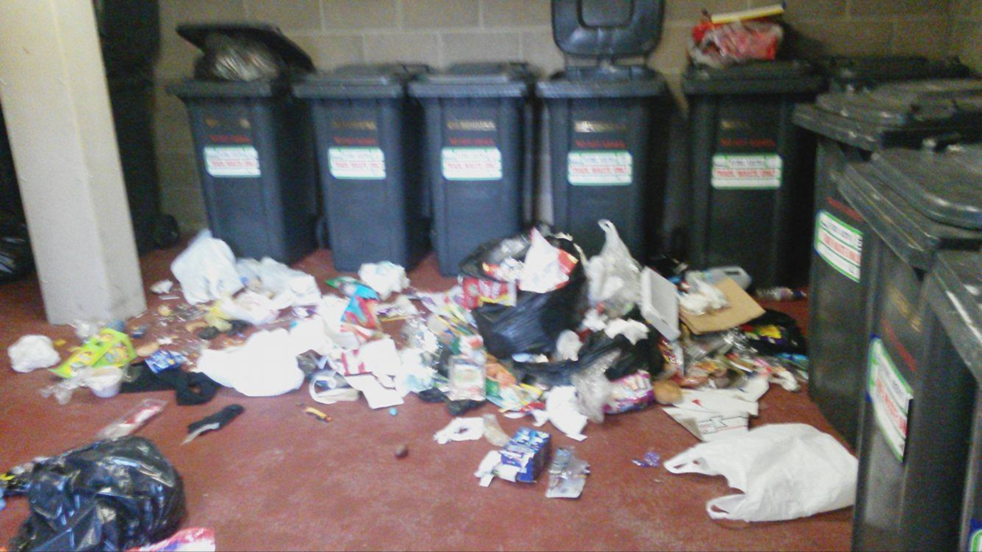 Some of the rubbish that was dumped on the floor at the Ann Street flats.