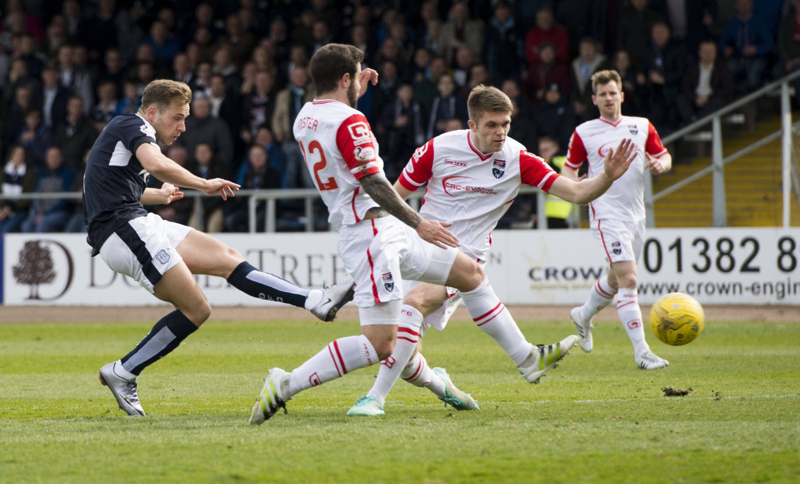 Greg Stewart scores during Dundee's 5-2 win over Ross County earlier this month where three-at-the-back worked a treat — other times it hasn't.