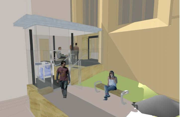 An artist's impression of the new disabled entrance.