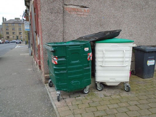 The bin the dog was found in