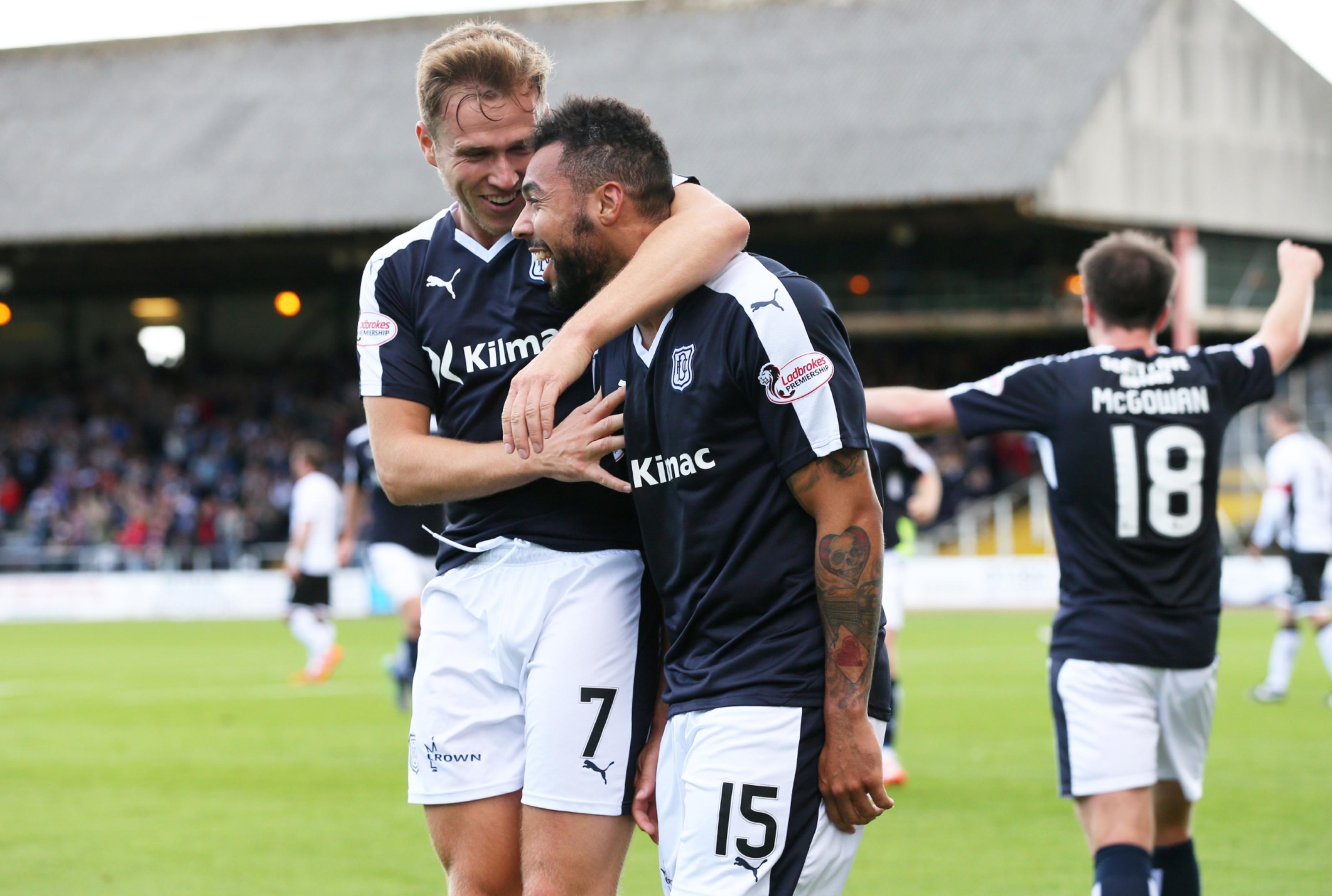 Dundee striker Greg Stewart and Kane Hemmings