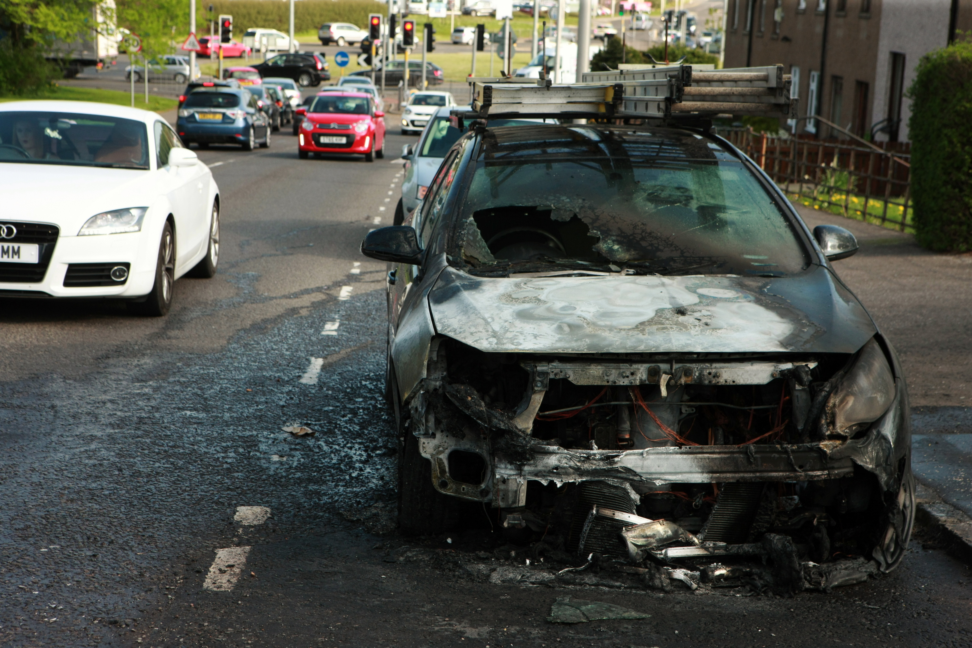 The remains of the vehicle on Myrekirk Road.