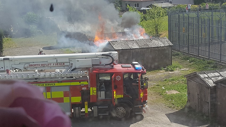 Firefighters at the blaze