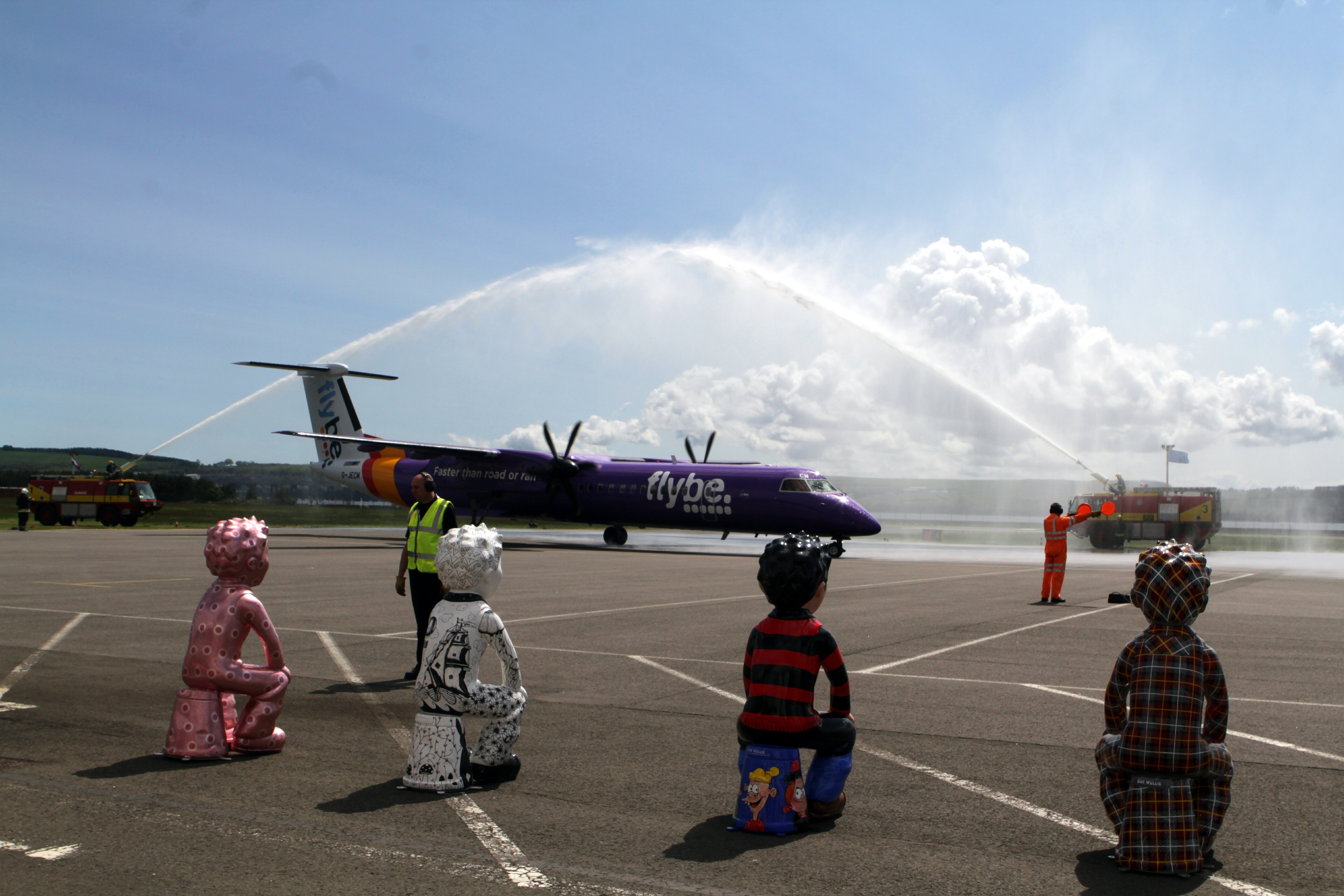 The plane from Amsterdam is welcomed at Dundee Airport