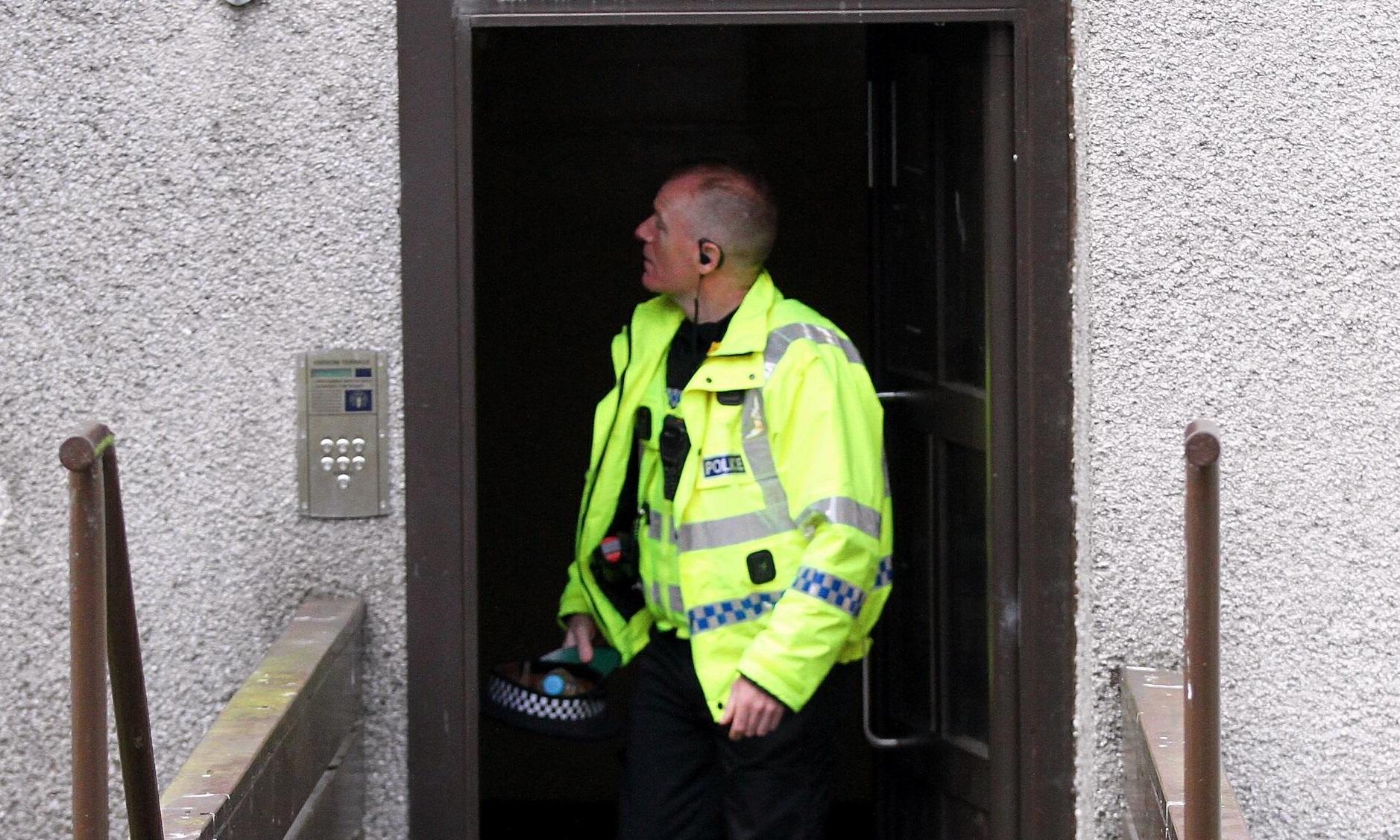 A police officer on Yarrow Terrace