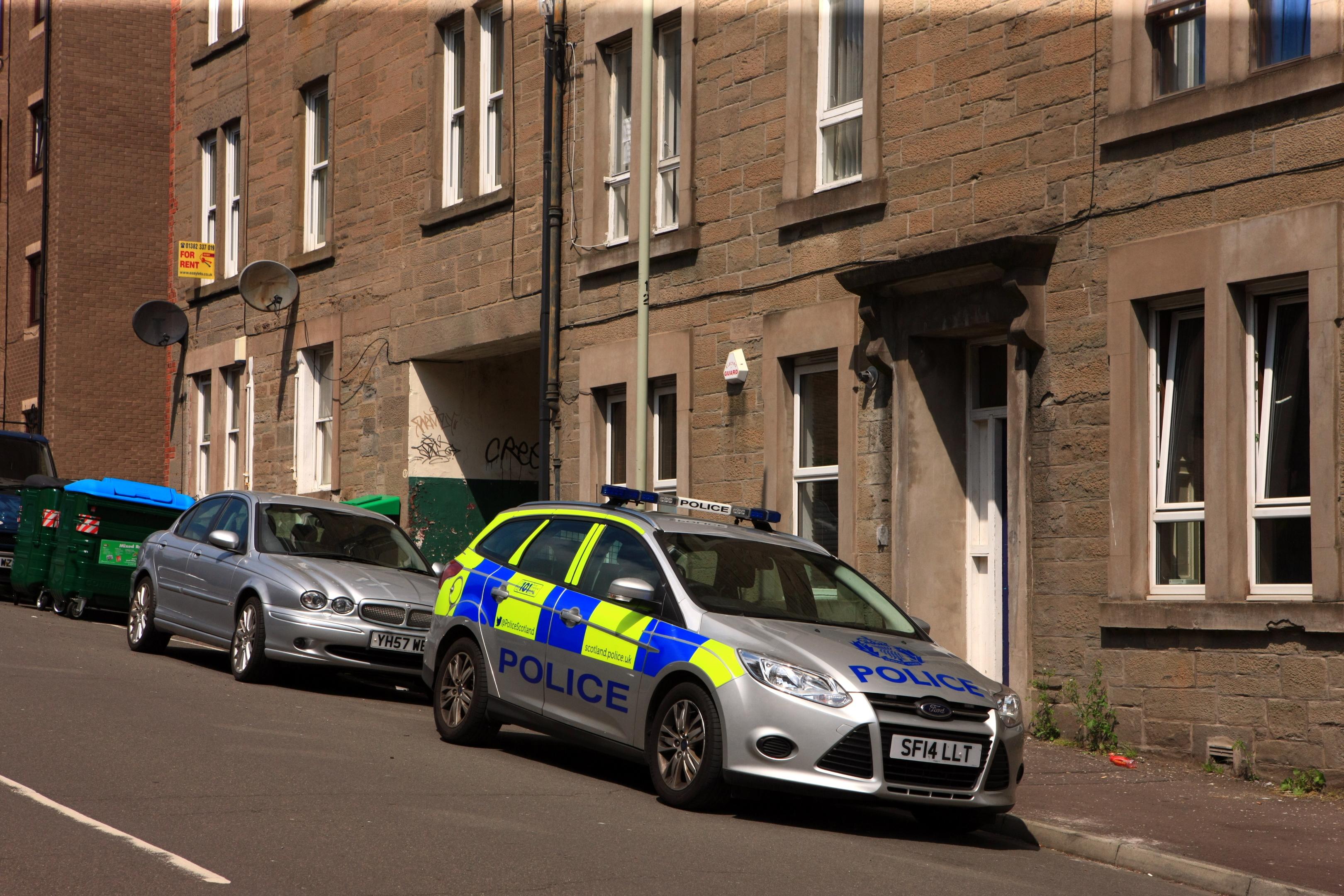 A police vehicle on Cleghorn Street.