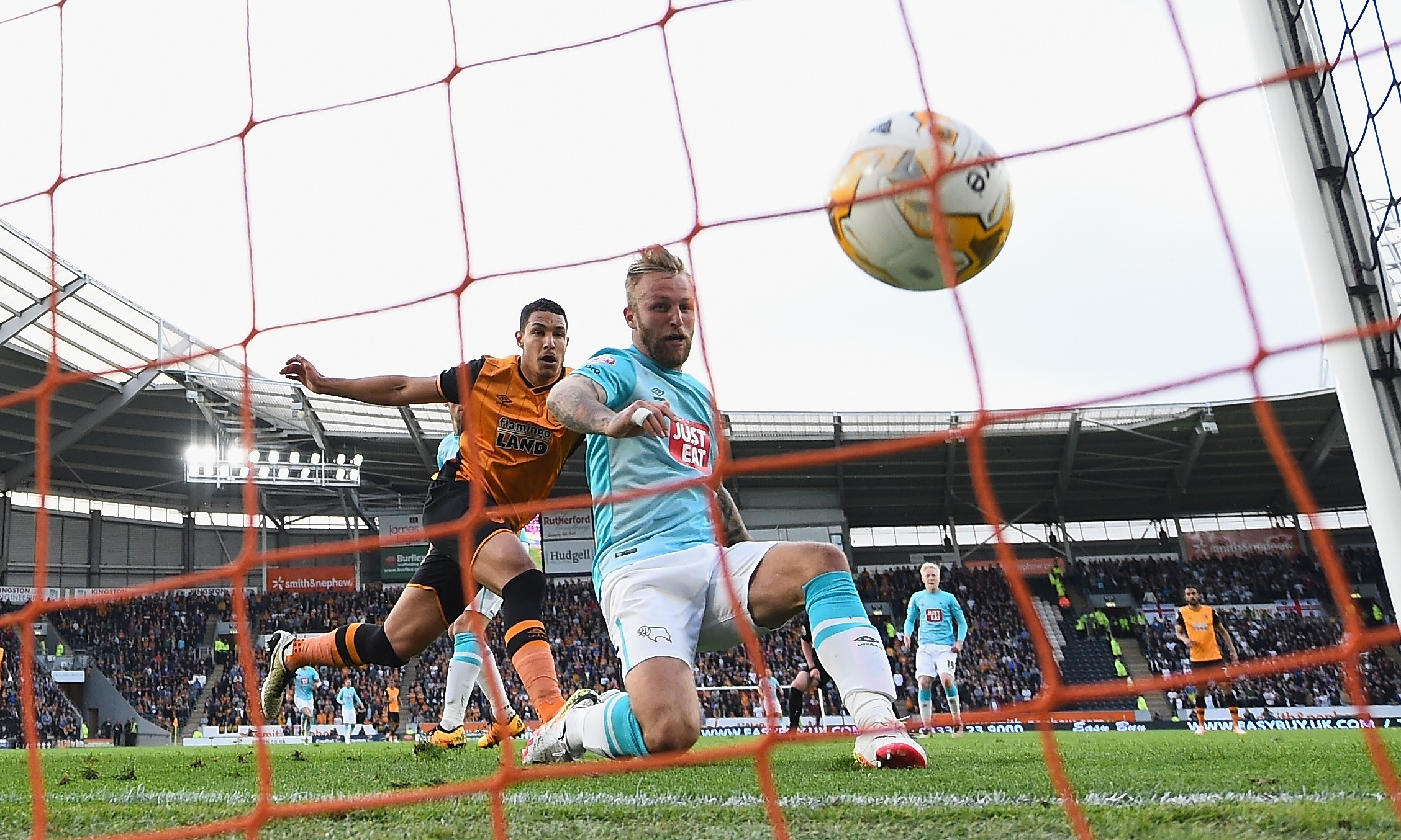 Johnny Russell finds the net for Derby County - but it wasn't enough as his side crashed out of the play-offs.