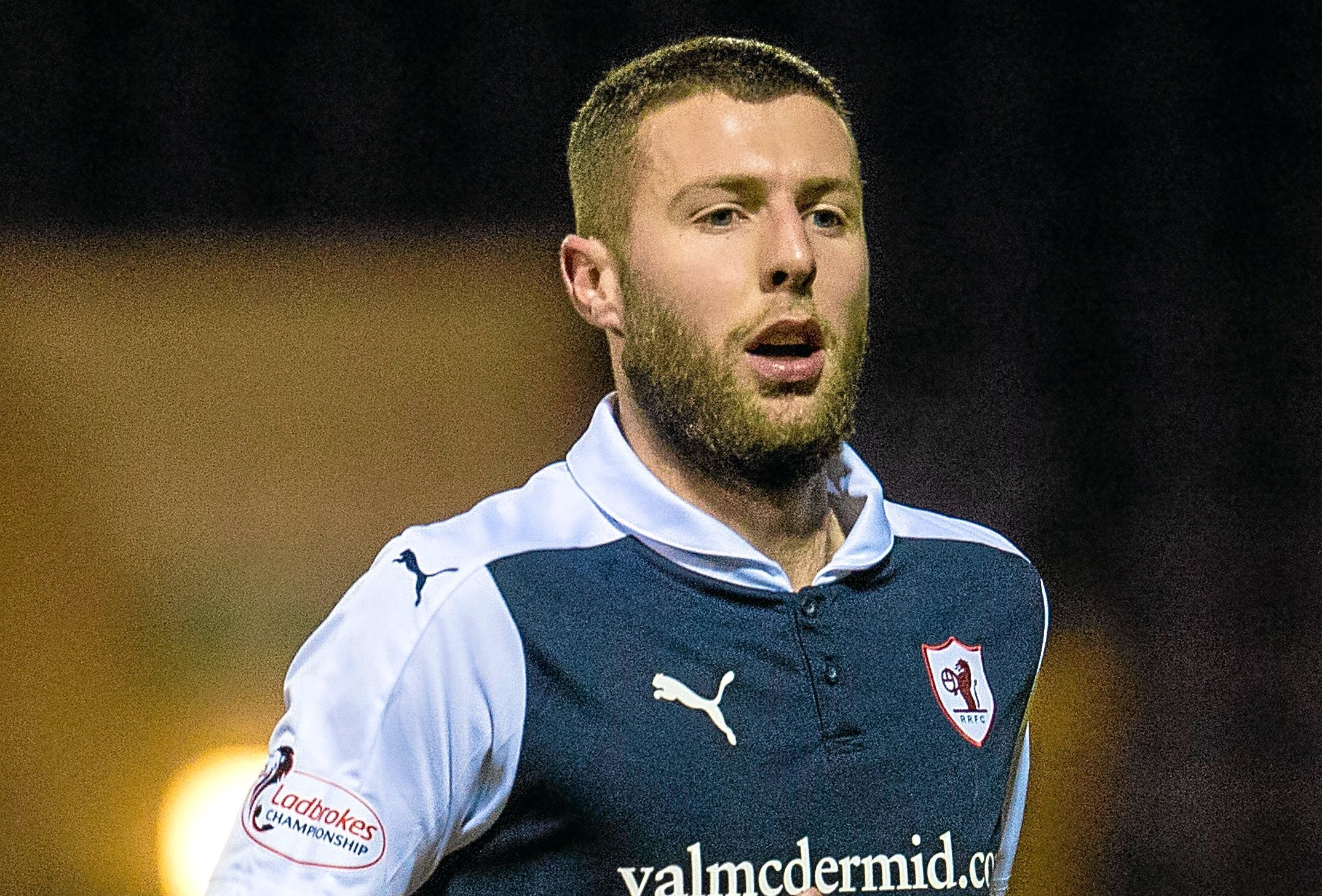 Lewis Toshney in action for Raith Rovers.