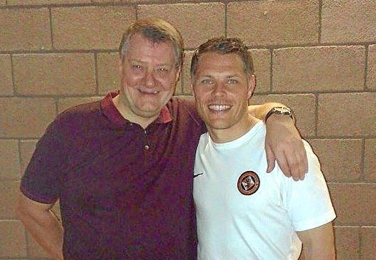 Dundee United fans chief Pat McCarron with former Tangerines midfielder John Rankin.