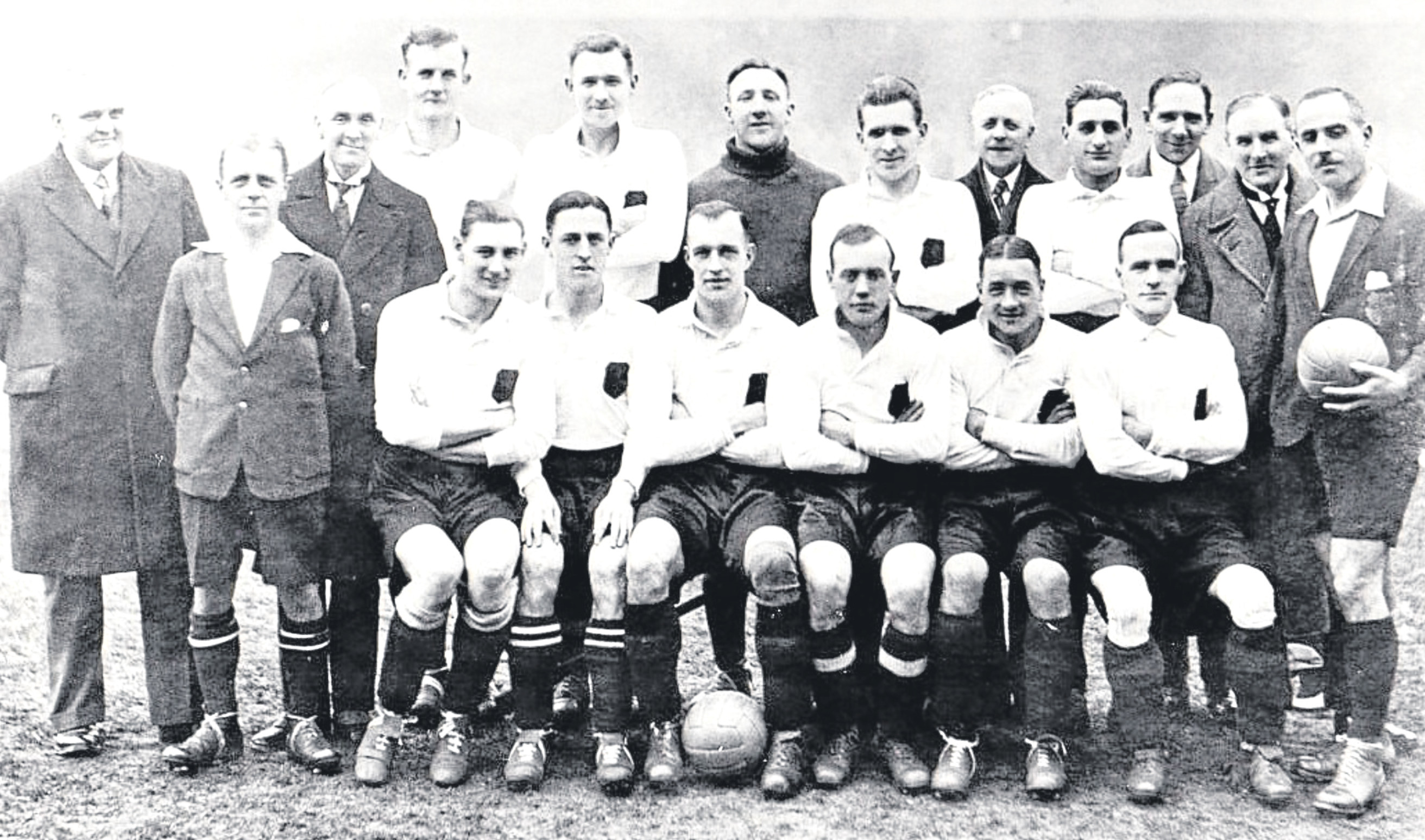Goalkeeper Bob Middleton, of Cowdenbeath, is pictured with the Scotland team which beat Ireland in 1930