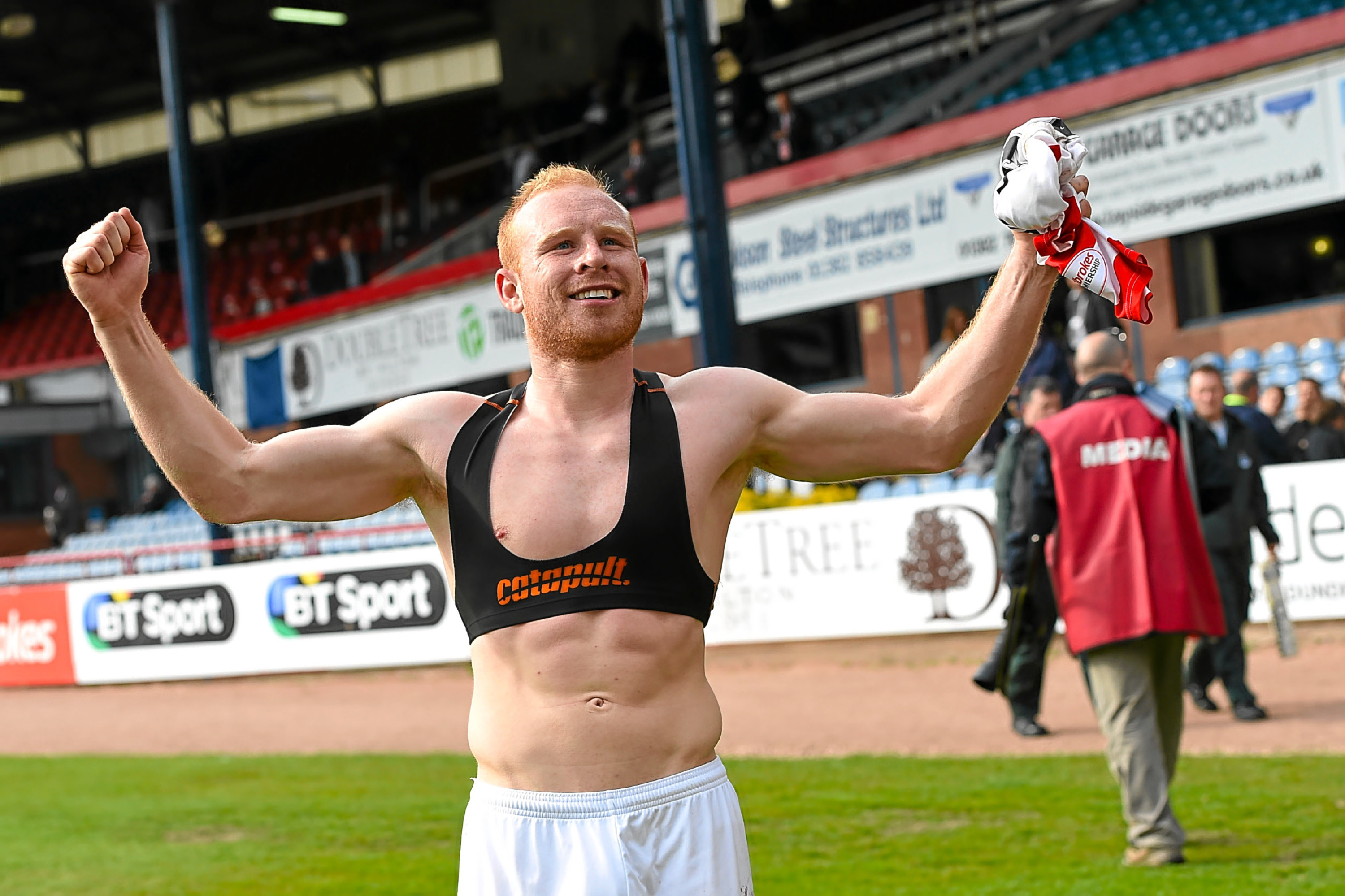 Gordon celebrates Saturday's win at Dens.