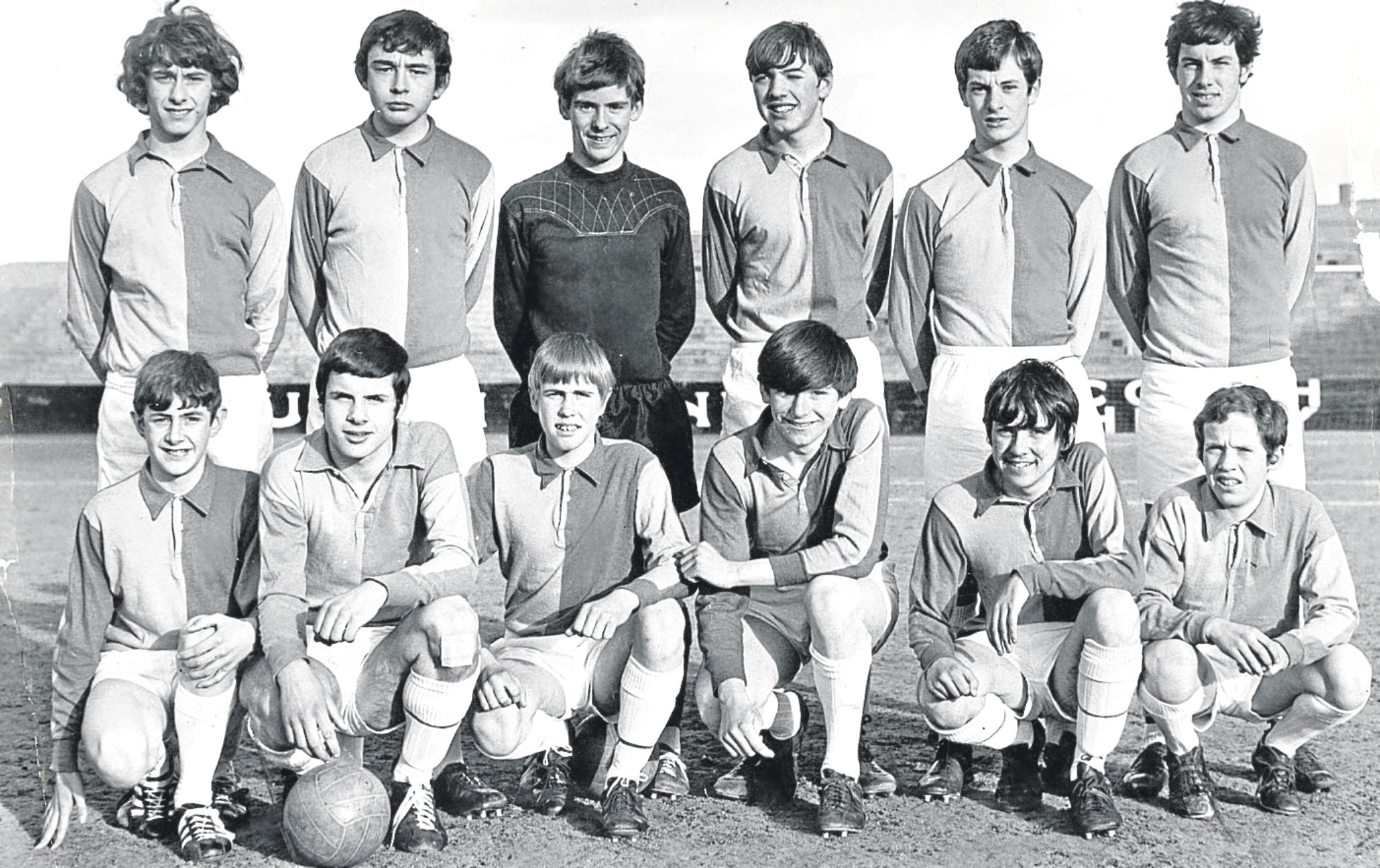 This is the only Linlathen football team photo I could find with players from the main story below. It's a 1969 team and  players listed but not in usual line-up order are S MacCulloch, A Geekie, G Addison, E Thomson, B Baird, J Jenkins,  J Hamilton, D Johnstone (second from left, front row), A Milton, I Palmer, J Jardine and J Fyfe.