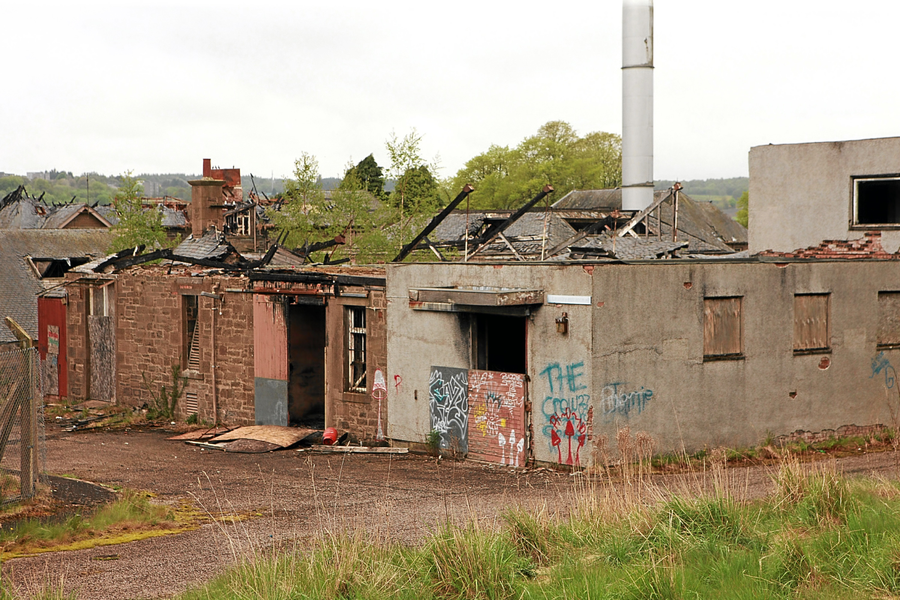 The damaged remains of Strathmartine Hospital after a fire there last week.