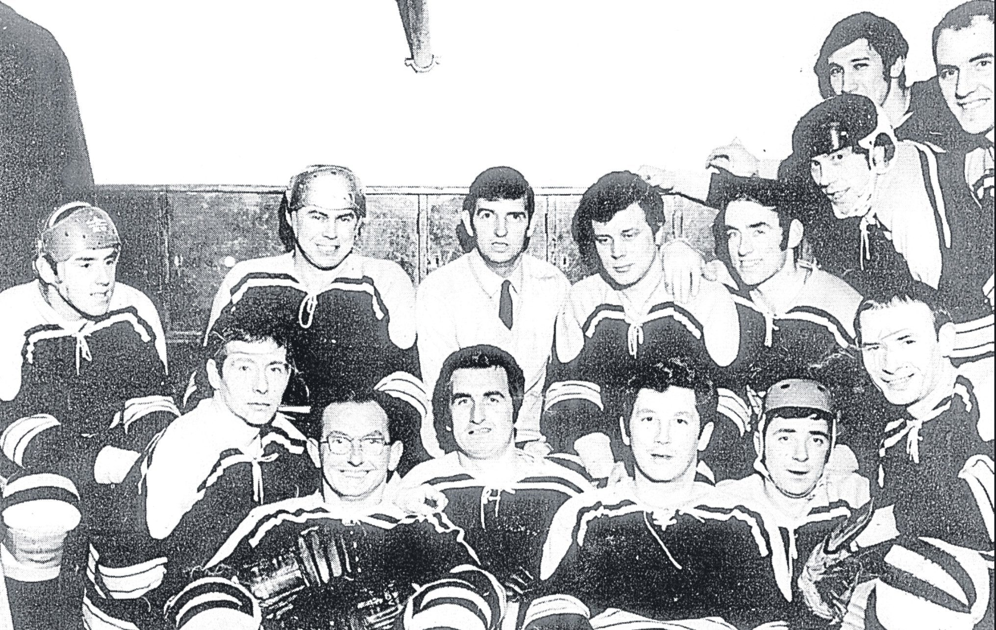 The Dundee Rockets team from 1969. Back row (from left) — Danny Stewart, Jim Black, Marshall Key, Chris Farrell, Tom Stewart, Willie Murray, Mike Grieve (partly hidden), Andy Baxter. Front row — Bert Ross, Molly Reid, George Reid, Graeme Phillip, Alec Bennet, Brian Slater.