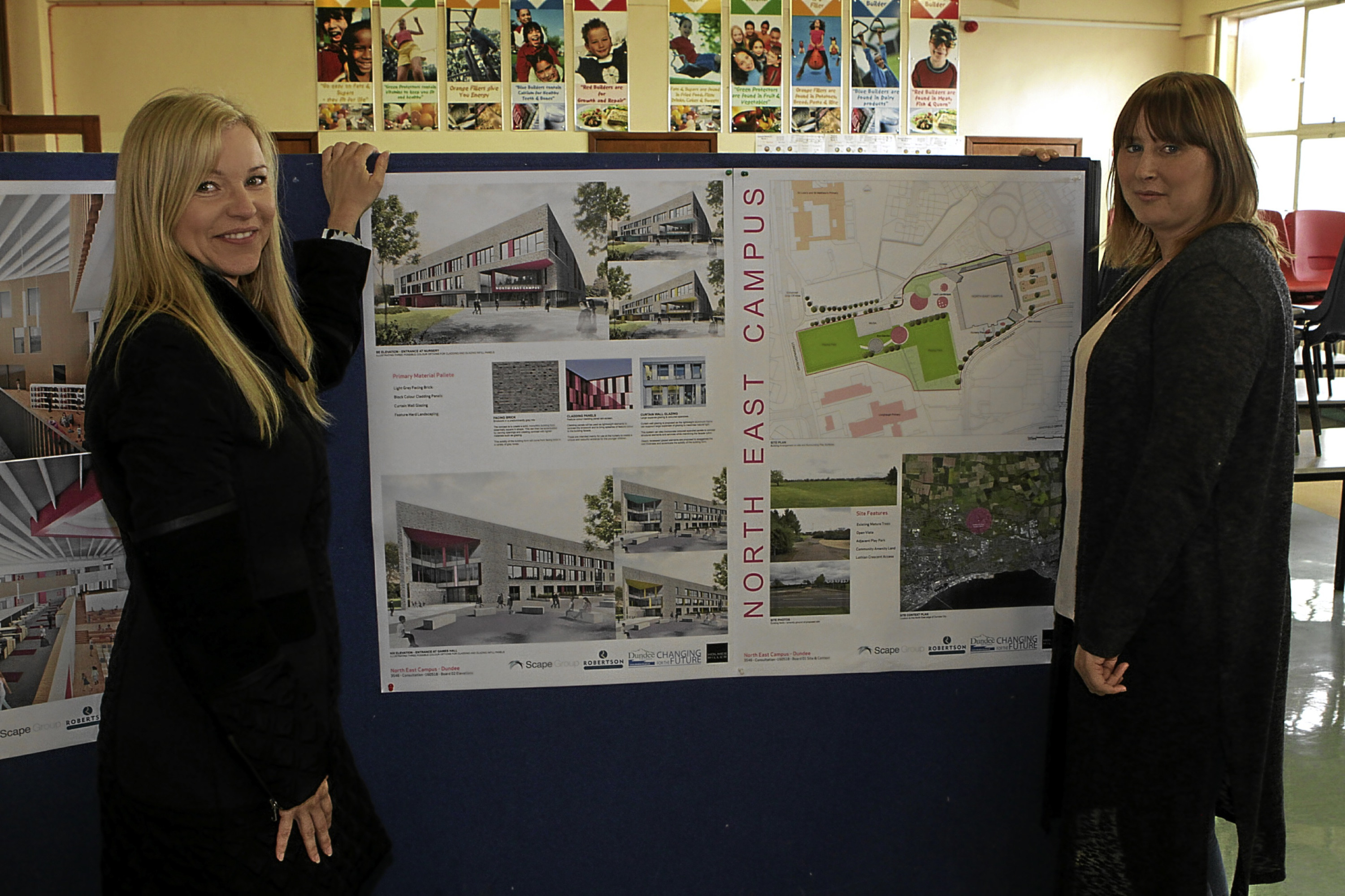 Parents Dawn Millar and Tania Craigie were among those to view the plans for the new Longhaugh school campus as images were revealed.