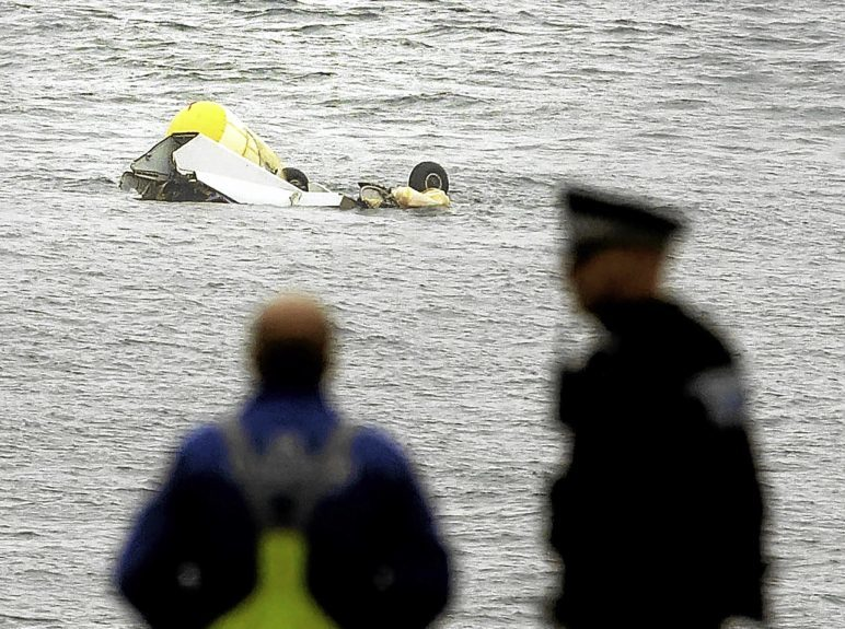 Part of the wreckage of the Super Puma which crashed two miles west of Shetland's Sumburgh Airport.