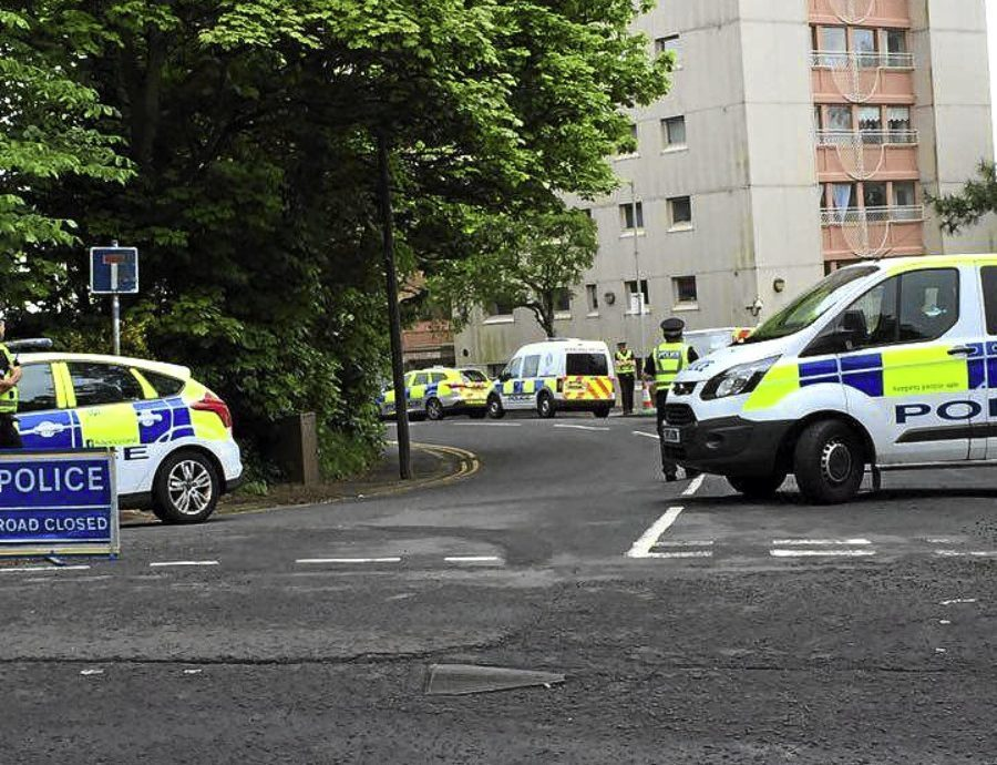 Police outside Dudhope Court after the incident on Saturday.