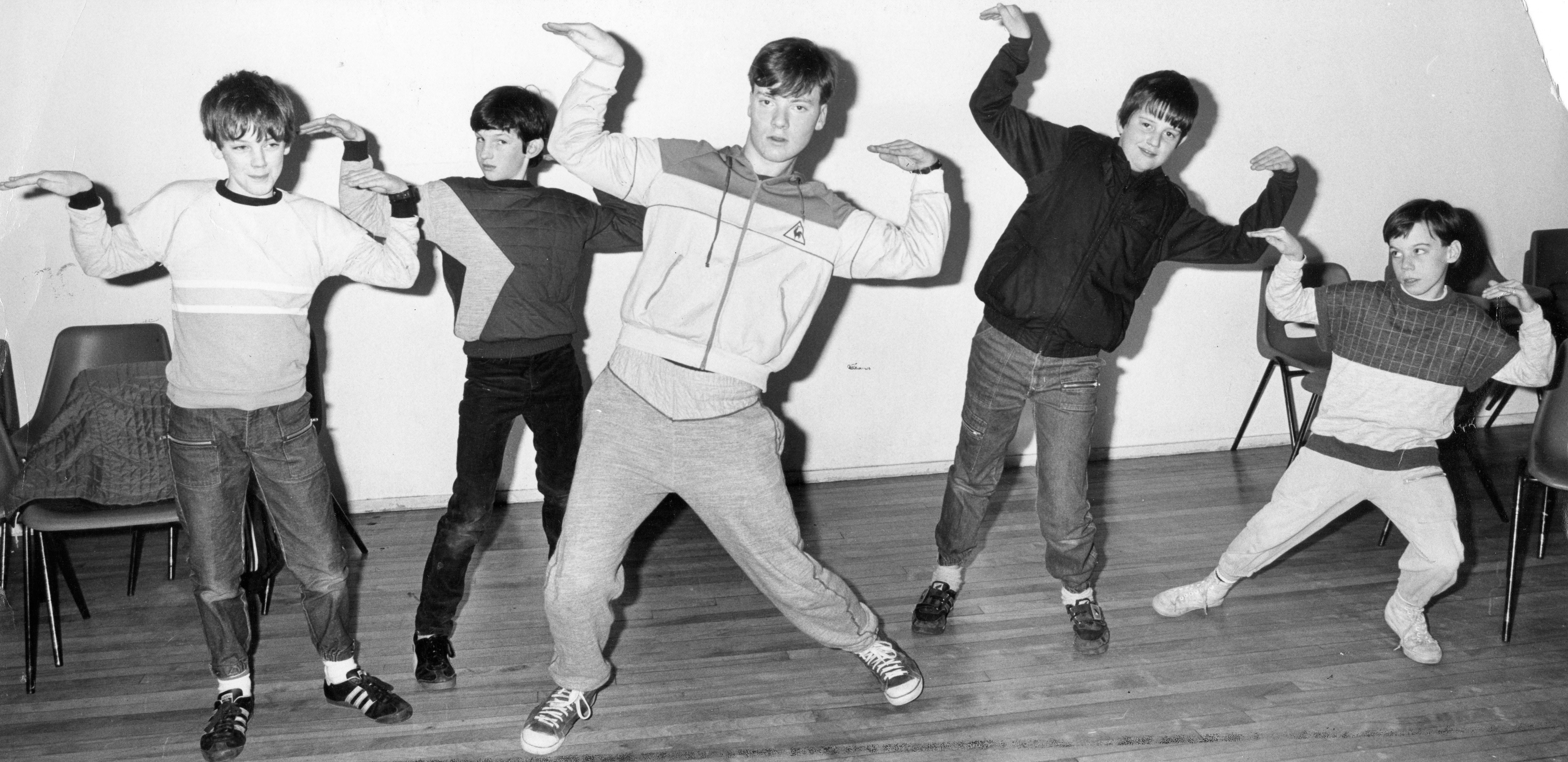 A break dancing class in 1985 at the Dudhope Art Cantre. Here we have (left to right) Stephen Veal, Thomas Black, Rab Clark, Forbes Taylor and Lee Duffy busting some moves.