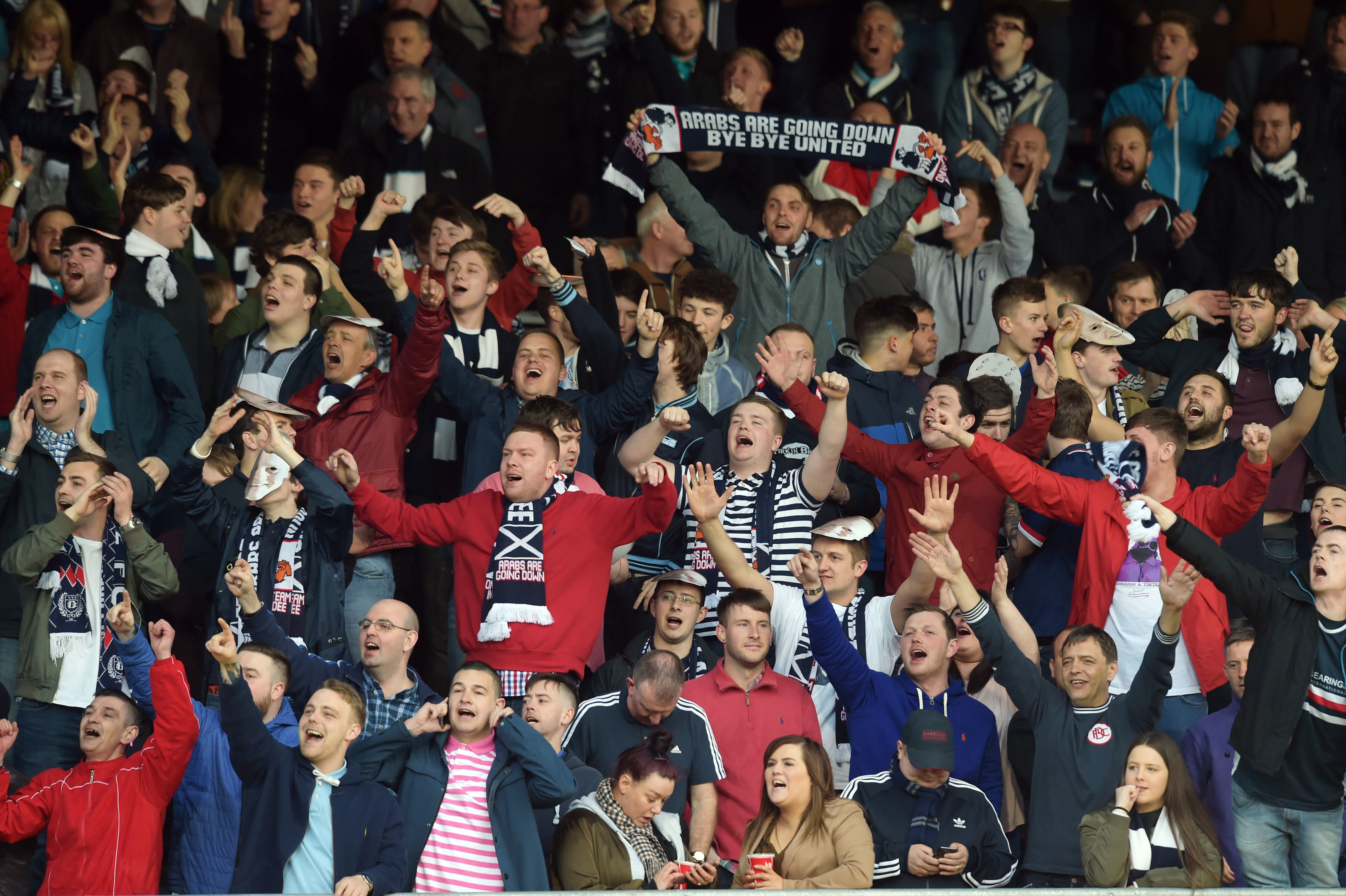 Dundee fans during last night's derby