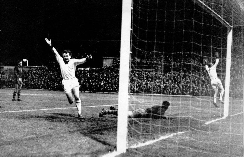 Dundee United v Barcelona in the Nou Camp in 1966 — Ian Mitchell and Finn Seemann can't hide their joy as the Barca goalkeeper is left helpless by Hainey's rocket shot for United's second goal.