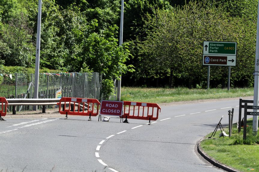 The closed Claverhouse Road.