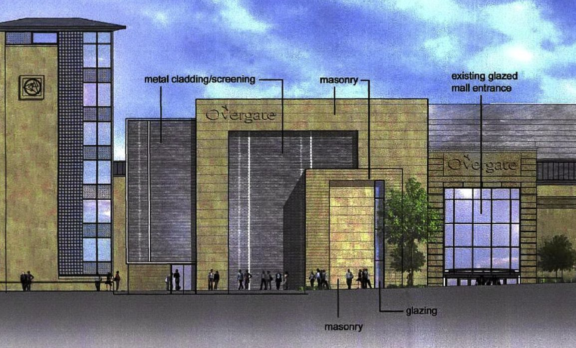 An artist's impression from 2005 on a potential extension to the Overgate centre.