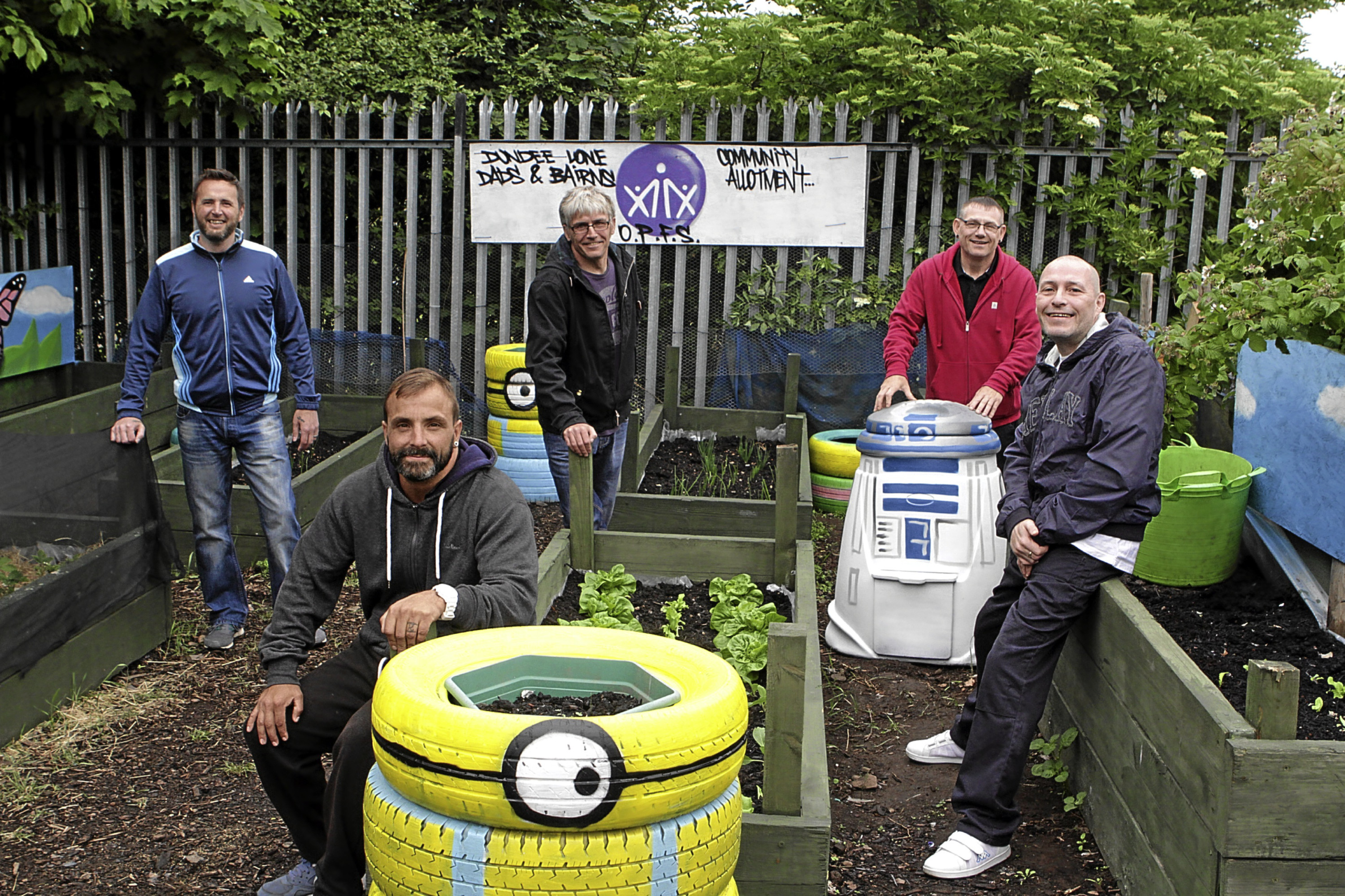 Duncan Crighton, John McKenzie, Frankie Ogilvie, Gary Stewart and Stevie Jones at their colourful allotment in Dundee.
