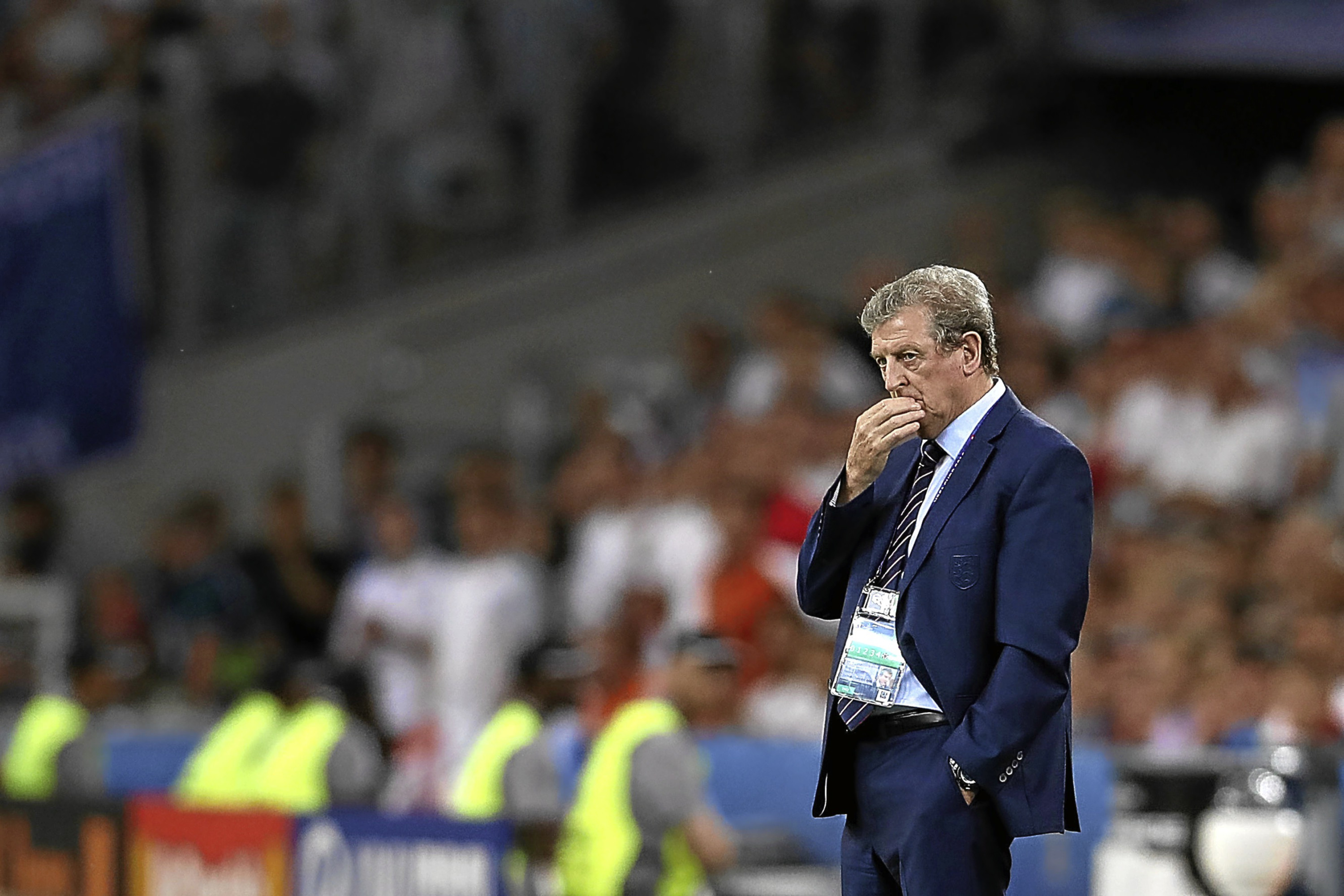 England manager Roy Hodgson on the touchline earlier in the competition