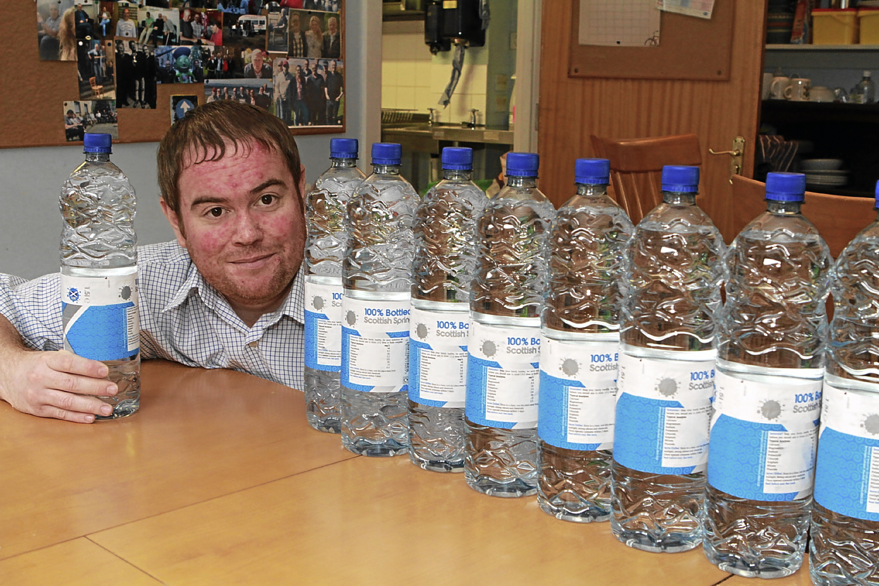 Kevin would drink up to 16 litres a day, the same as ten of these large bottles of water