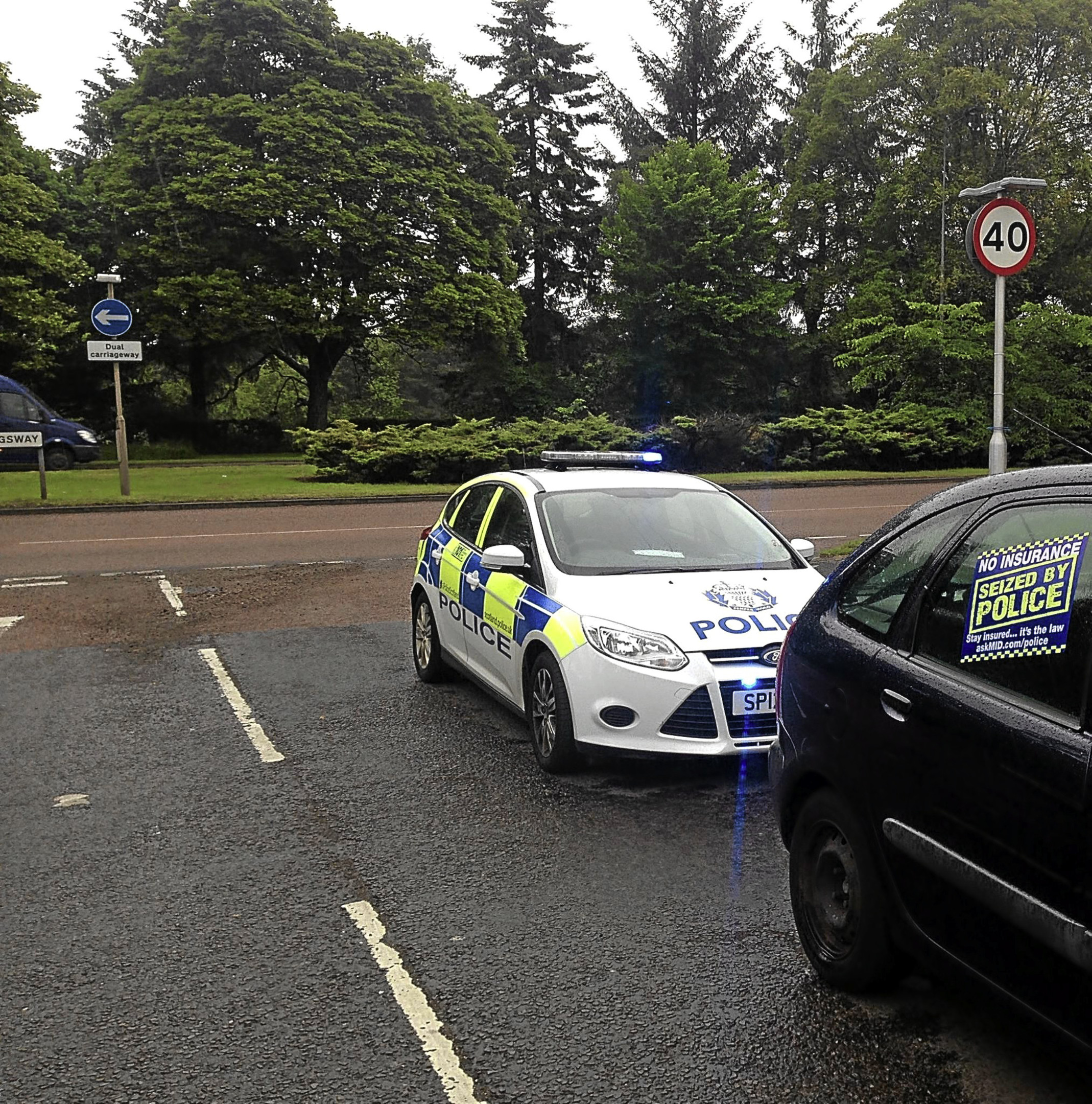 Police pulled over a number of cars and nearly a dozen motorists were fined or reported at the Forfar Road junction.