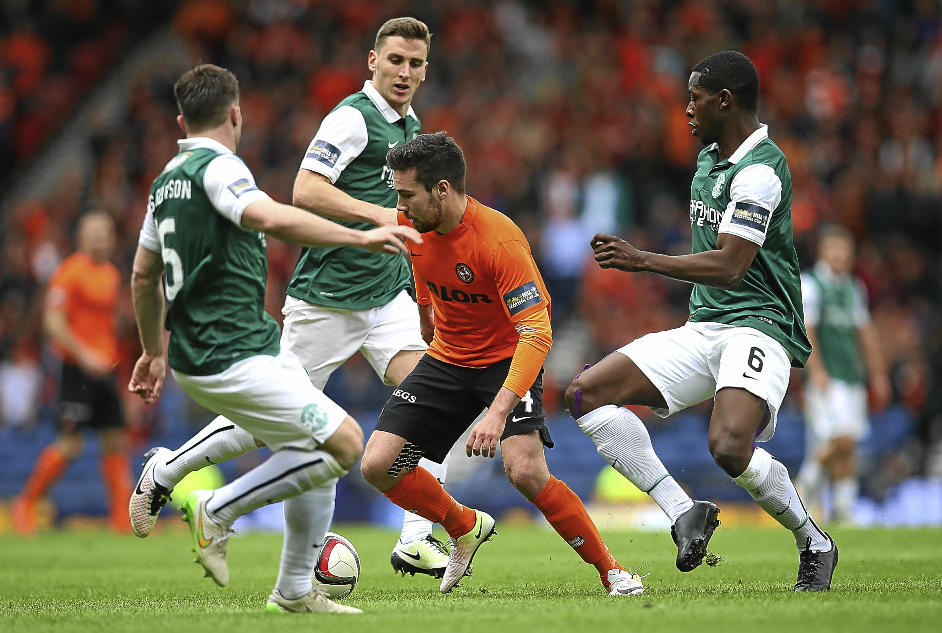 Dundee United attacker Ryan Dow couldn't find a way past a resolute Hibs side in last season's Scottish Cup semi-final, which the men from Leith eventually went on to win in the final against Rangers.