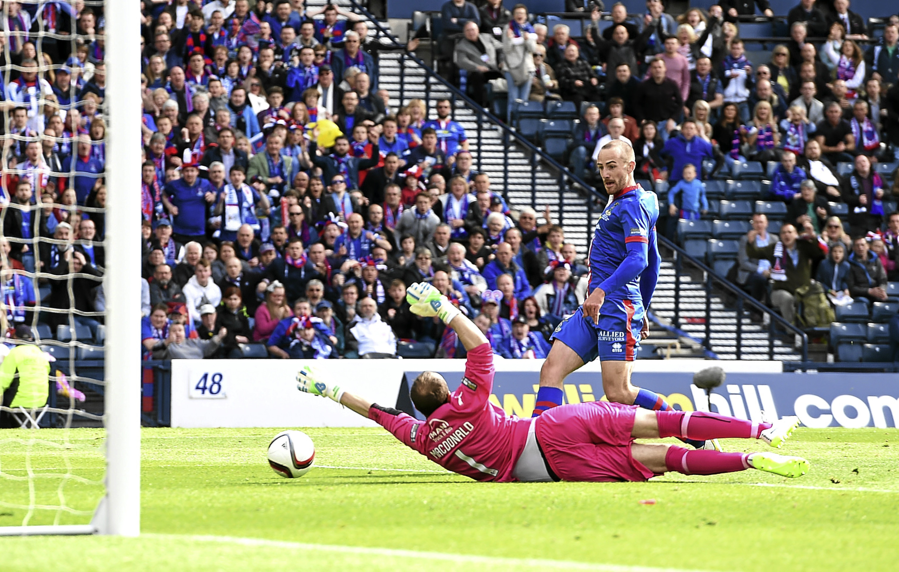 New Dundee signing James Vincent slots in the winner for Inverness Caley Thistle in the 2015 Scottish Cup Final at Hampden.