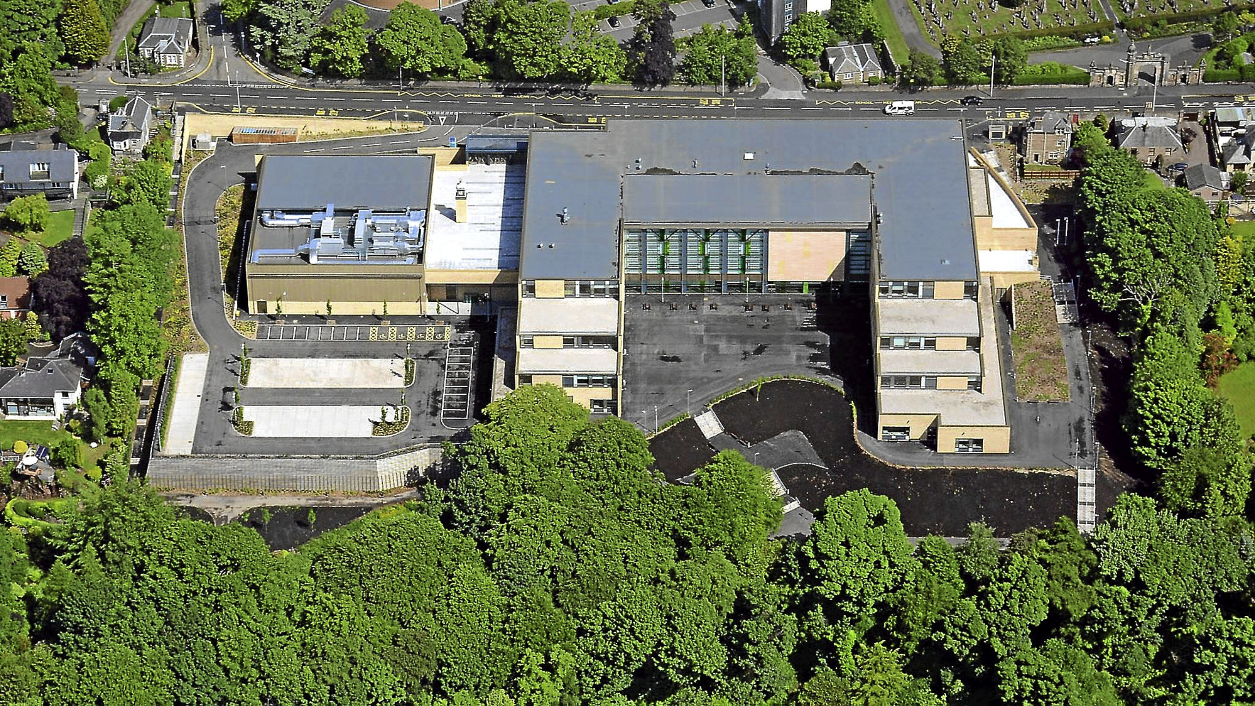 Photographer Jim Crosby captured the image of the new £31 million Harris Academy while flying his flexwing microlight.