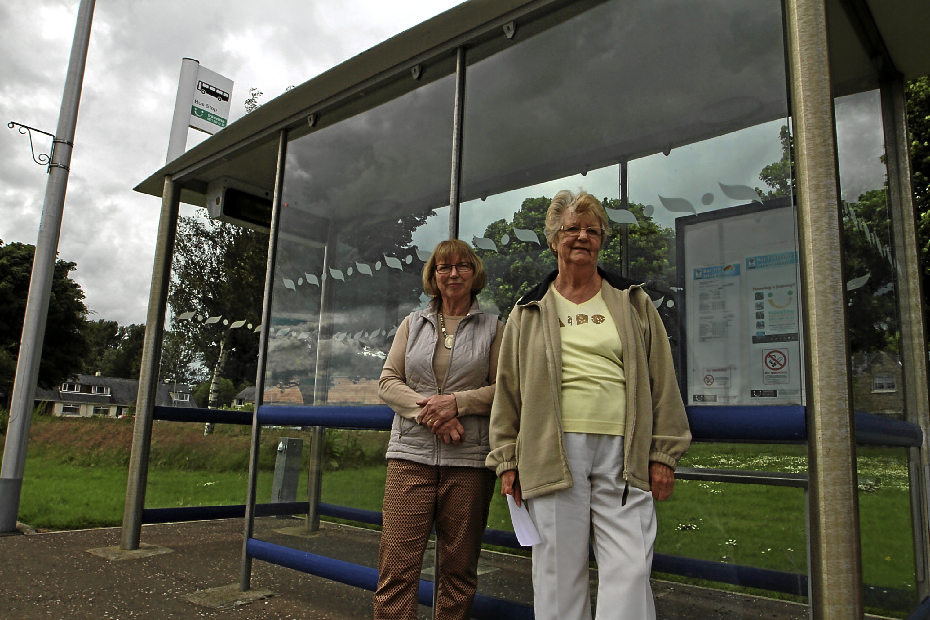 Flora Morrison (right) with fellow resident Wilma Findlay. They are among several people who are unhappy over bus changes.