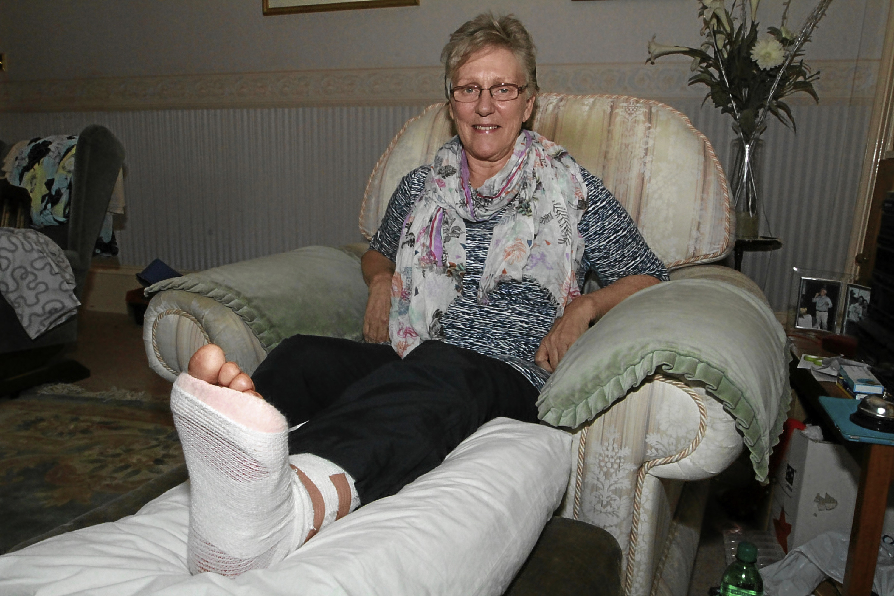 Sharon recovers at home in Broughty Ferry after breaking her ankle in the Pretty Muddy event on Saturday.