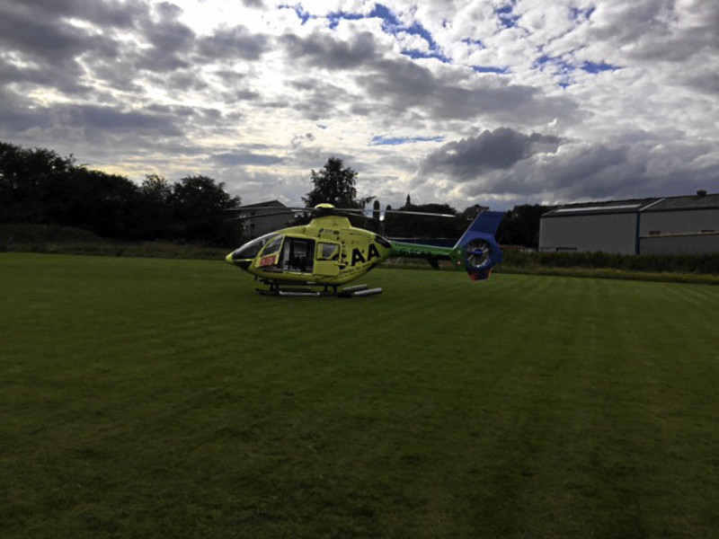 The Scottish Charity Air Ambulance at the scene of the incident.