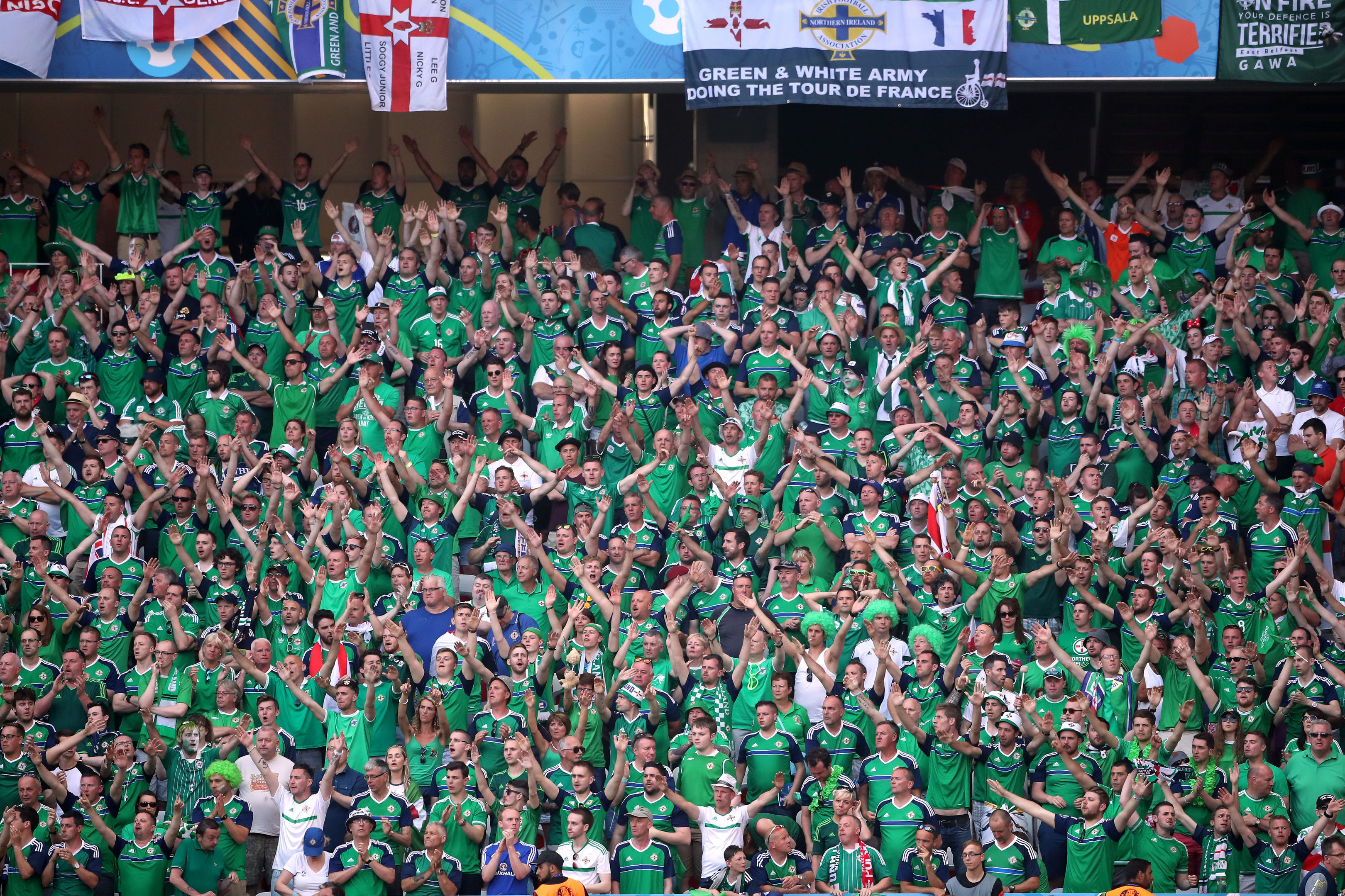 Northern Ireland at yesterday's game against Poland.
