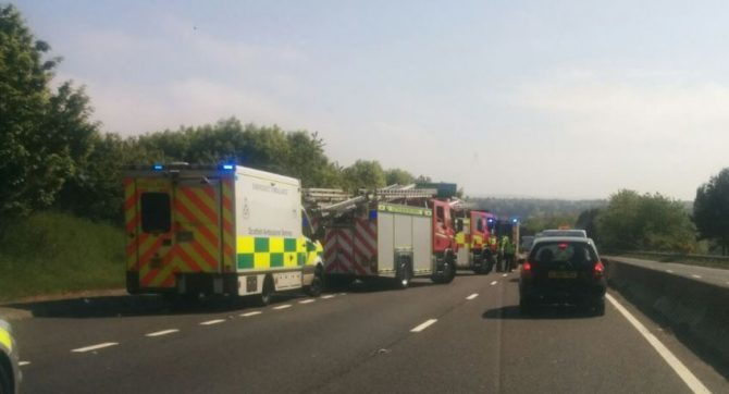 The scene at the A90