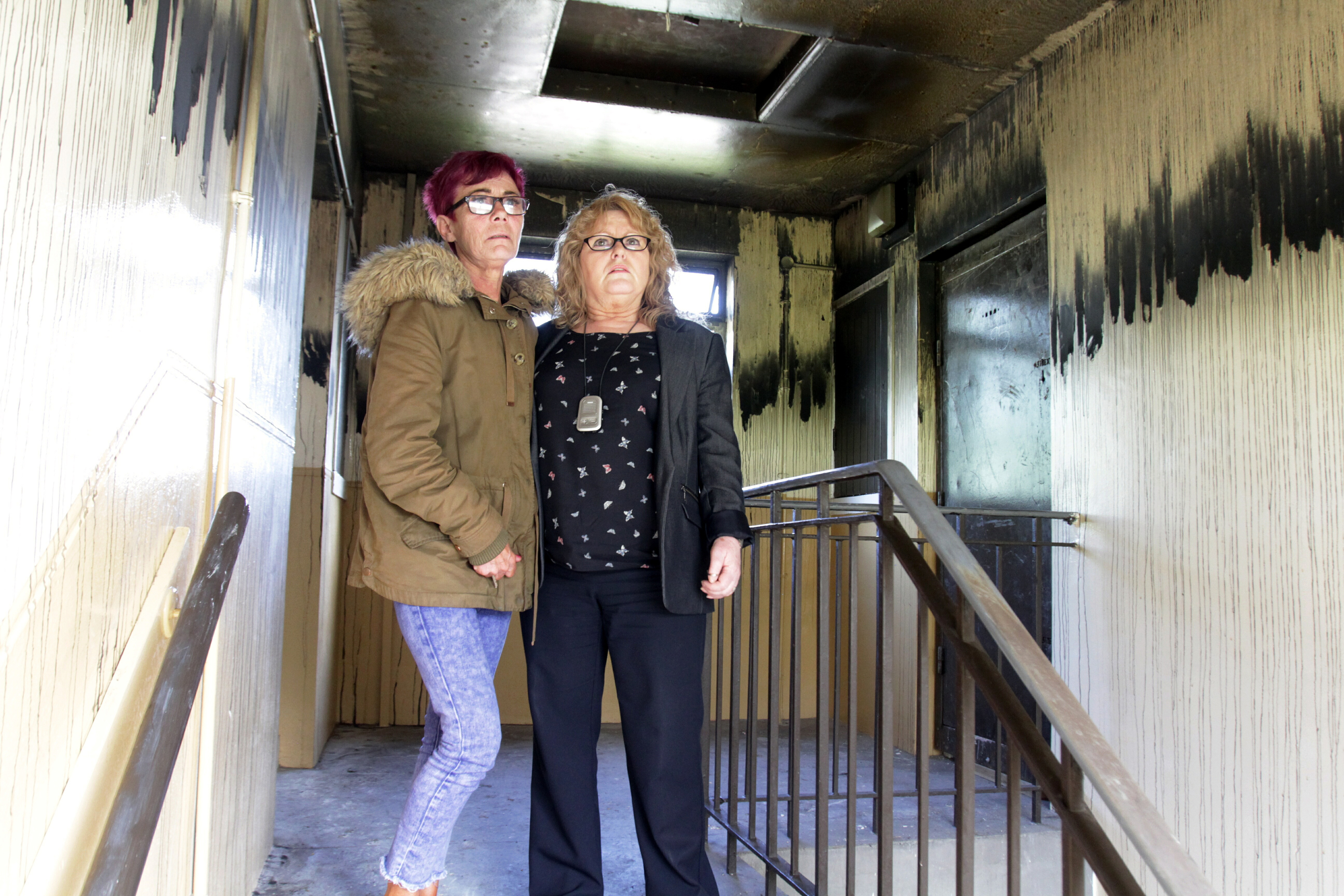 Davina Smith (left), from Douglas, who lost all of her possessions in a house fire, with her friend, Veronica Lynch.