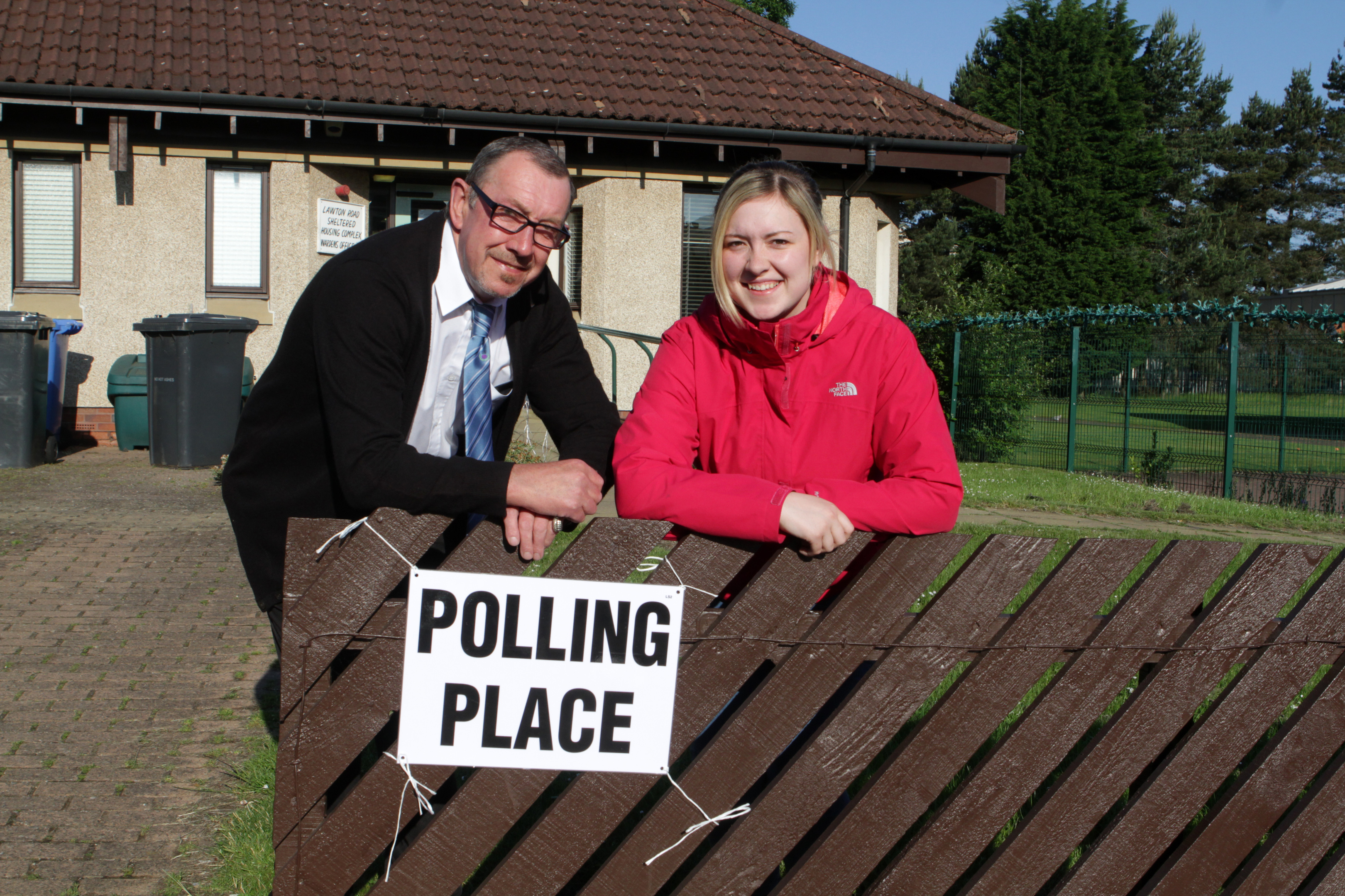 Father and daughter voters Alec and Jamie Abbott head in to vote at their Lawton Road polling station this morning.