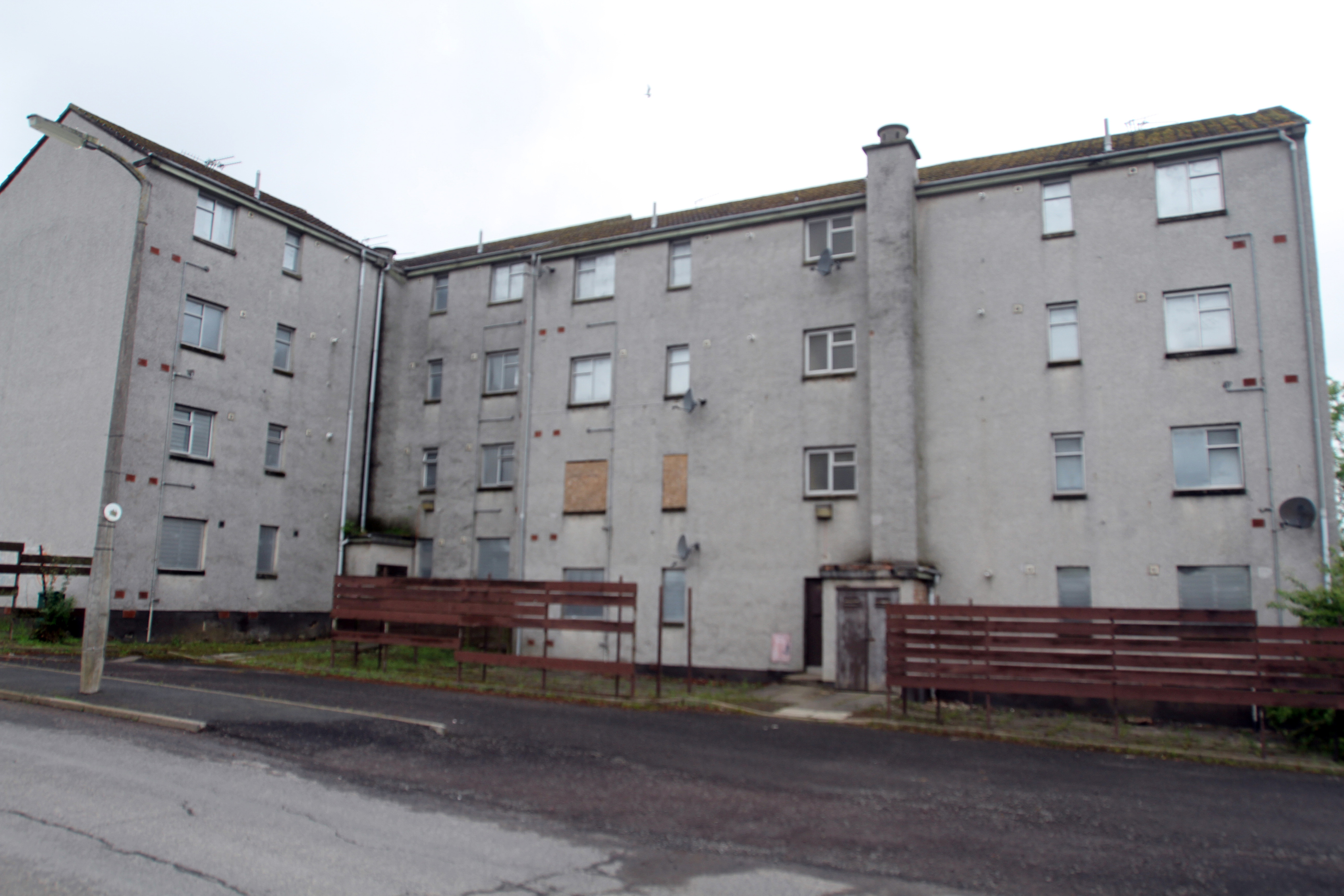 The block of flats on Hebrides Drive in Mill o' Mains.