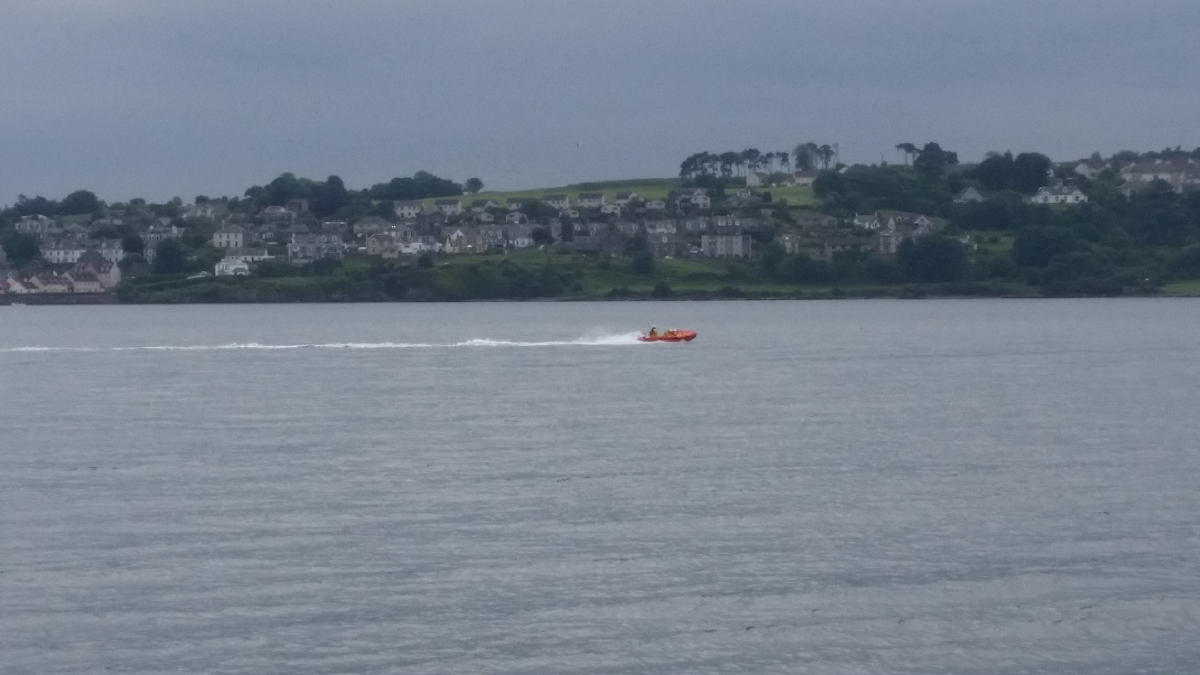 The lifeboat crew as they set off on their rescue operation.