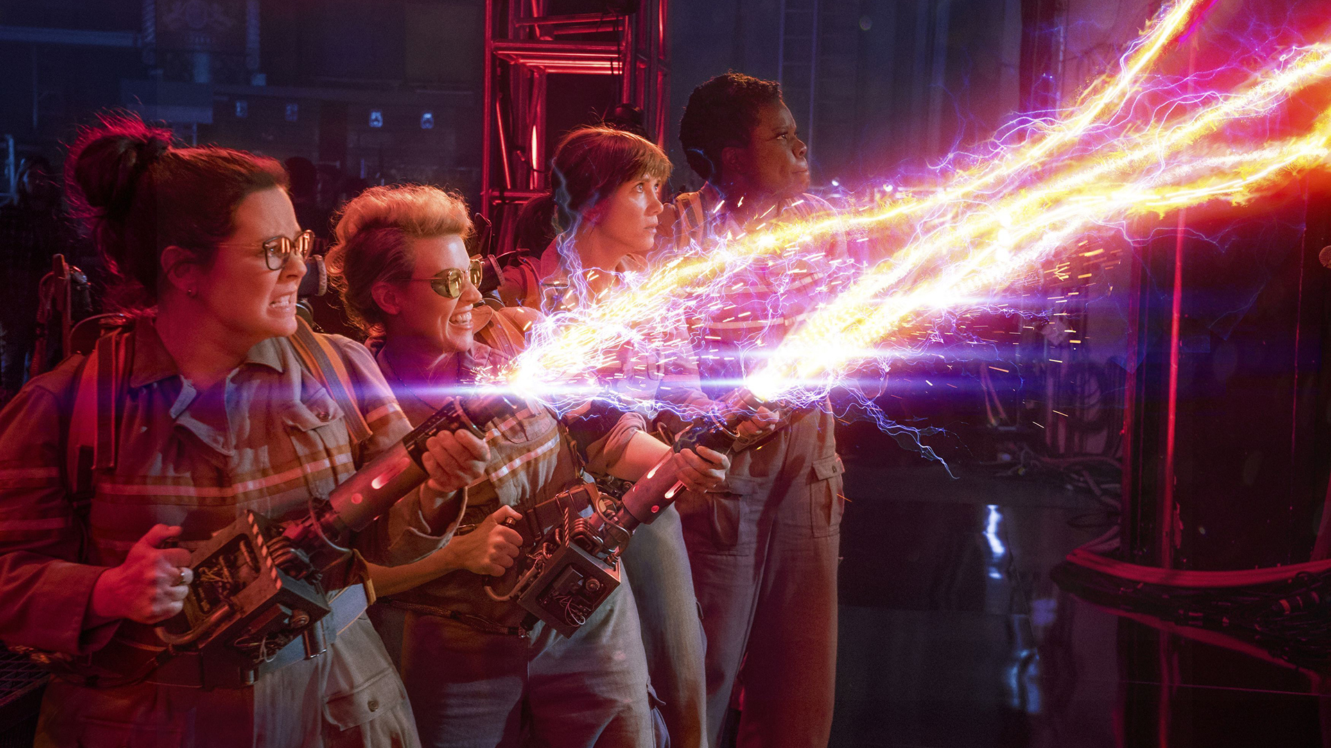 Undated Film Still Handout from Ghostbusters. Pictured: Abby (Melissa McCarthy), Erin (Kristen Wiig), Holtzmann (Kate McKinnon) and Patty (Leslie Jones). See PA Feature FILM Ghostbusters. Picture credit should read: PA Photo/Sony Pictures. WARNING: This picture must only be used to accompany PA Feature FILM Ghostbusters.