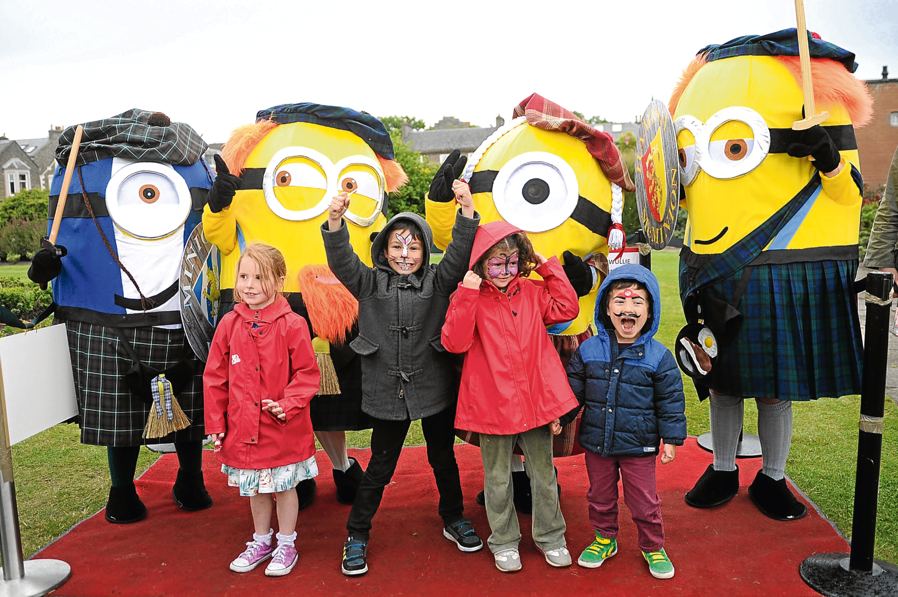 The McMinions with, from left to right, Lily Johnston, Nic Sanchez, Elvira Rosa and Lucas Sanchez at Broughty Ferry.