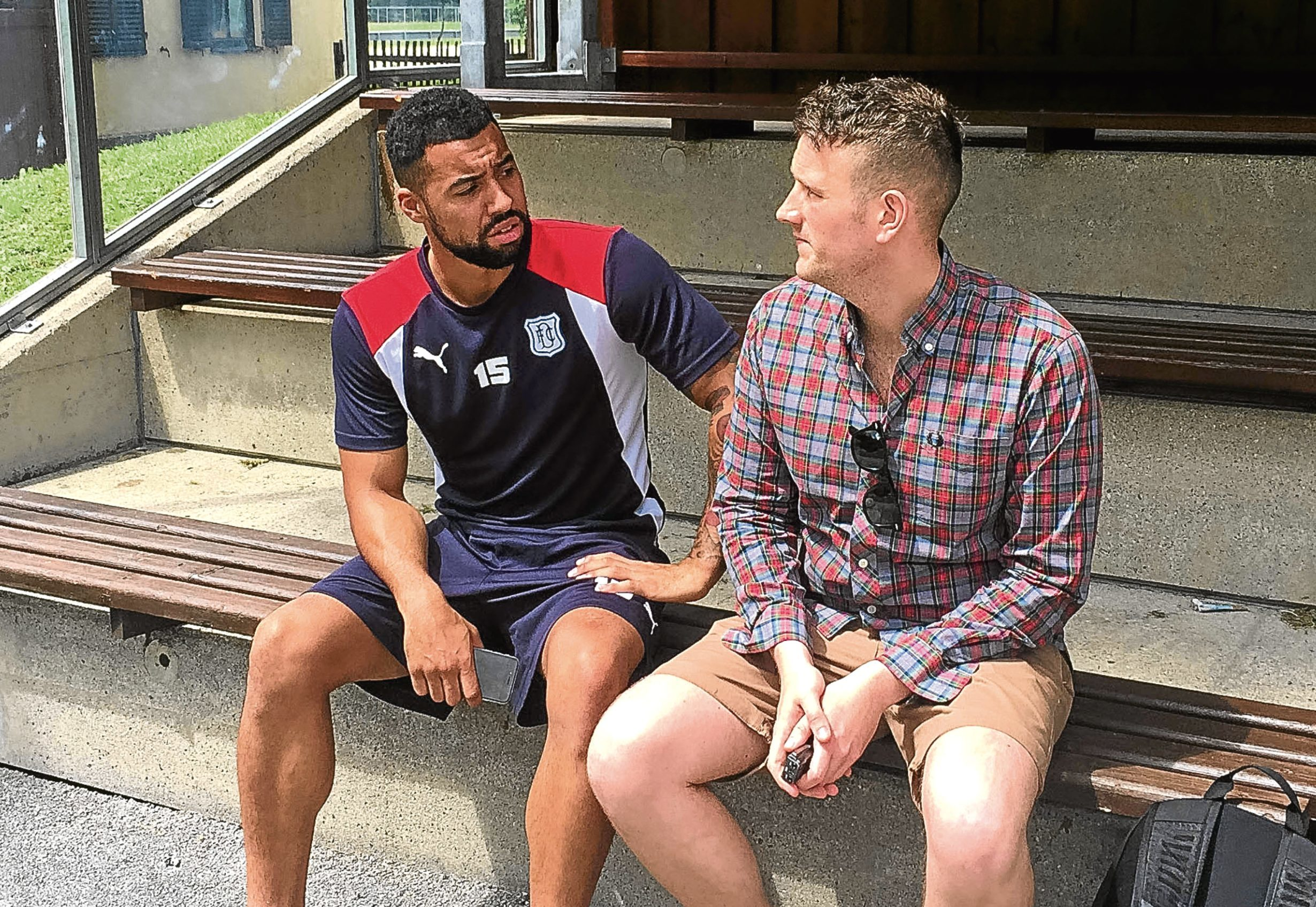 The Tele's Liam Kennedy talks to Kane Hemmings  during Dundee's preseason trip to Austria