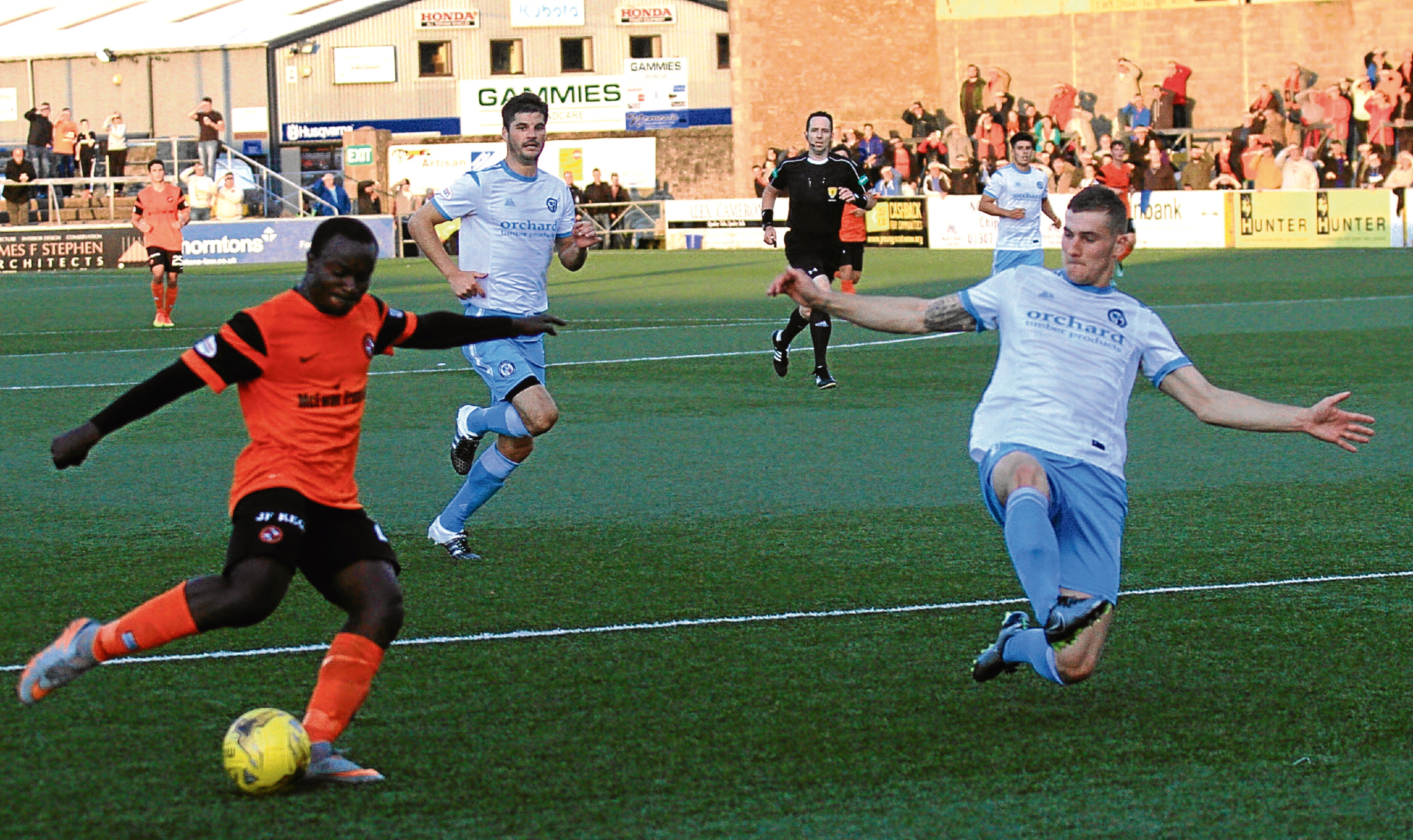 Dundee United's youthful side impressed manager Ray McKinnon in the friendly draw at Forfar — here Justin Johnson nets the equaliser.
