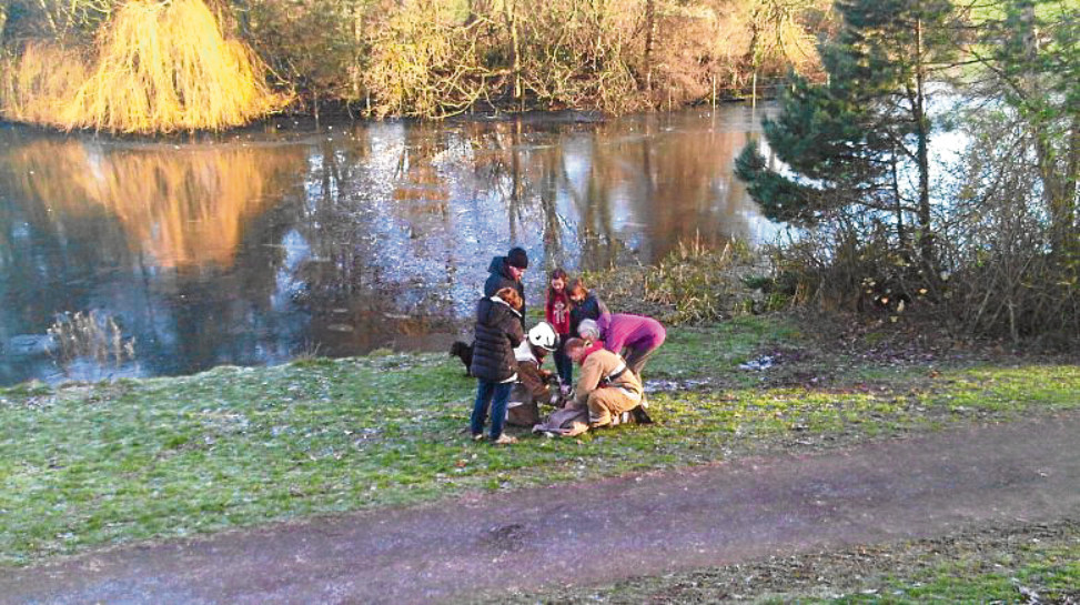 In 2014  a crew was called to Keptie Pond in Arbroath after a dog fell through the ice