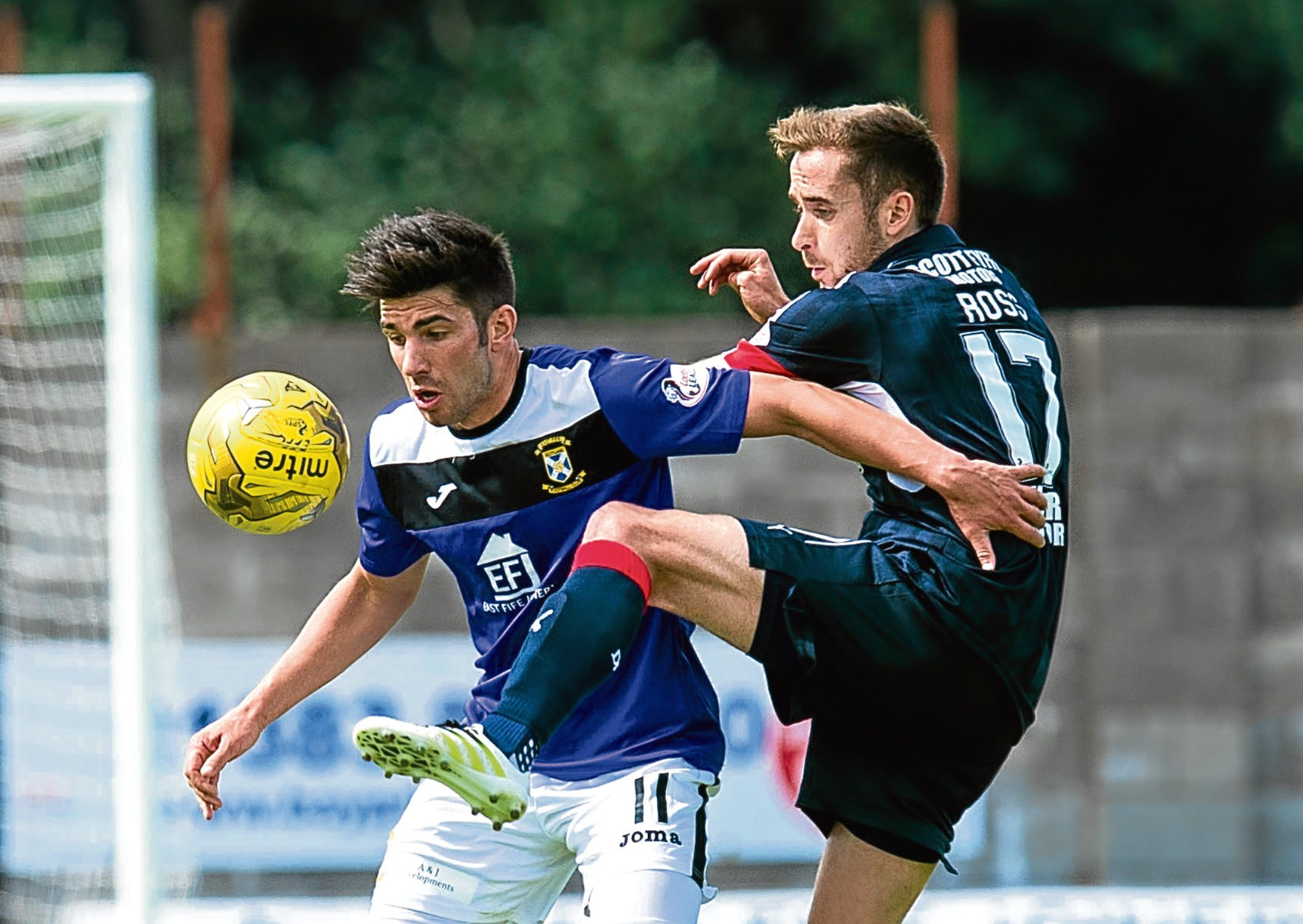 Dundee's Nick Ross battles away in midfield at Bayview as the Dark Blues opened their season with a draw against East Fife in the Betfred Cup before losing the bonus point penalty shoot-out.